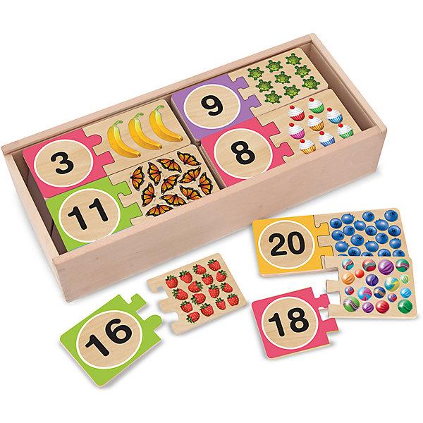 Игра Цифры, Melissa &amp; DougПособия для обучения счёту<br>Игра Цифры, Melissa &amp; Doug (Мелисса и Даг) – это веселая и познавательная игра познакомит малыша с цифрами.<br>С таким набором Ваш ребенок быстро и удовольствием выучит цифры от 1 до 20 и счёт, ведь урок можно превратить в веселую игру. В деревянной коробочке Вы найдете 20 пар головоломок, которые нужно соединить так, чтобы цифра совпала с количеством картинок, изображенных на рисунке, т.е. если у Вас есть цифра 11, то к ней подойдет 11 бабочек, и т.д. Каждому рисунку подходит только одна цифра, поэтому Ваш ребенок будет запоминать все числа правильно! Такой набор поможет Вашему малышу с легкостью изучить числа, а также способствует развитию моторики ручек и логического мышления.<br><br>Дополнительная информация:<br><br>- В набор входят 20 пар головоломок: цифры от 1 до 20 и подходящие к ним иллюстративные части<br>- Материал: дерево<br>- Размер упаковки: 14х32х7 см.<br><br>Игру Цифры, Melissa &amp; Doug (Мелисса и Даг) можно купить в нашем интернет-магазине.<br><br>Ширина мм: 700<br>Глубина мм: 320<br>Высота мм: 140<br>Вес г: 1132<br>Возраст от месяцев: 48<br>Возраст до месяцев: 84<br>Пол: Унисекс<br>Возраст: Детский<br>SKU: 4005801