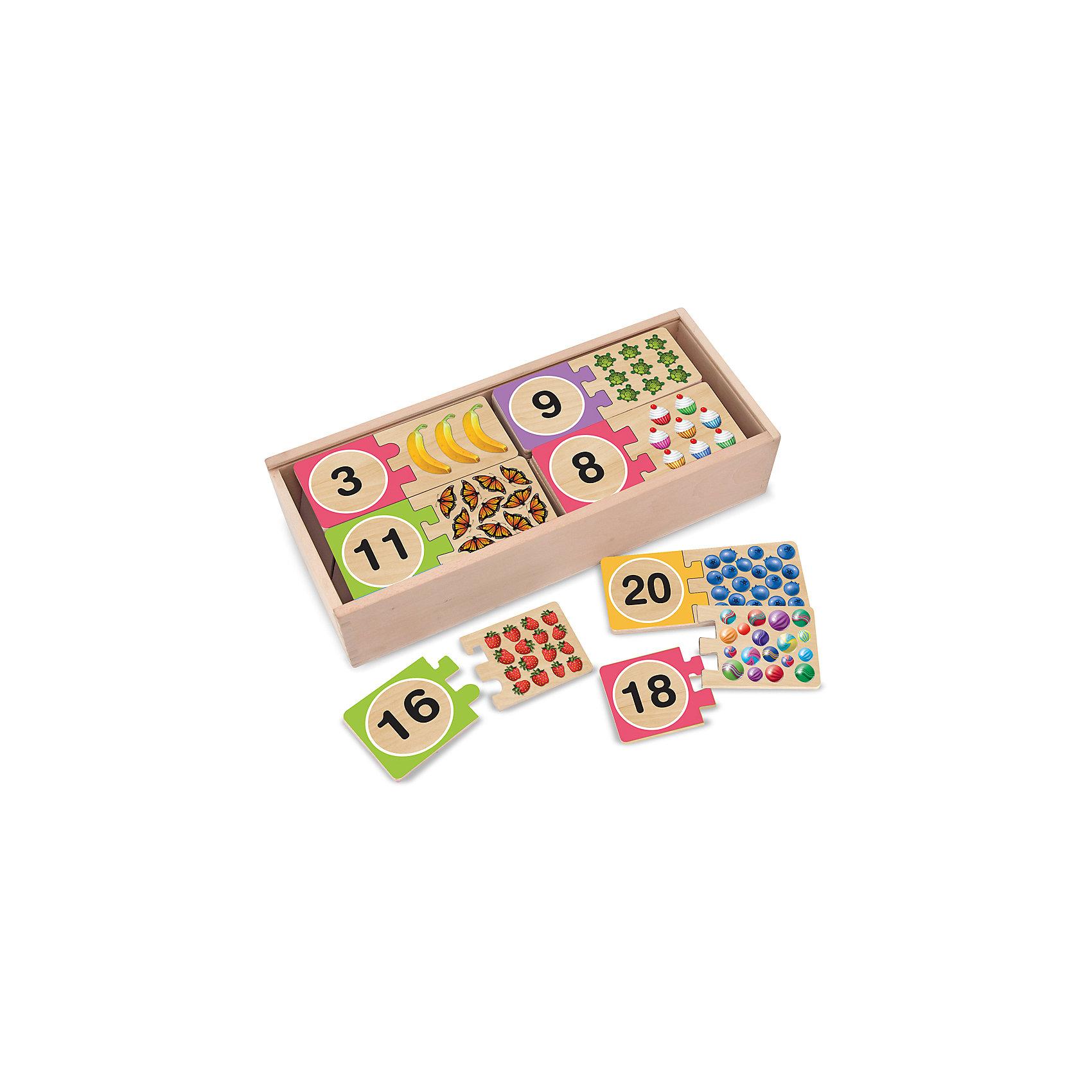 Игра Цифры, Melissa &amp; DougИгра Цифры, Melissa &amp; Doug (Мелисса и Даг) – это веселая и познавательная игра познакомит малыша с цифрами.<br>С таким набором Ваш ребенок быстро и удовольствием выучит цифры от 1 до 20 и счёт, ведь урок можно превратить в веселую игру. В деревянной коробочке Вы найдете 20 пар головоломок, которые нужно соединить так, чтобы цифра совпала с количеством картинок, изображенных на рисунке, т.е. если у Вас есть цифра 11, то к ней подойдет 11 бабочек, и т.д. Каждому рисунку подходит только одна цифра, поэтому Ваш ребенок будет запоминать все числа правильно! Такой набор поможет Вашему малышу с легкостью изучить числа, а также способствует развитию моторики ручек и логического мышления.<br><br>Дополнительная информация:<br><br>- В набор входят 20 пар головоломок: цифры от 1 до 20 и подходящие к ним иллюстративные части<br>- Материал: дерево<br>- Размер упаковки: 14х32х7 см.<br><br>Игру Цифры, Melissa &amp; Doug (Мелисса и Даг) можно купить в нашем интернет-магазине.<br><br>Ширина мм: 700<br>Глубина мм: 320<br>Высота мм: 140<br>Вес г: 1132<br>Возраст от месяцев: 48<br>Возраст до месяцев: 84<br>Пол: Унисекс<br>Возраст: Детский<br>SKU: 4005801