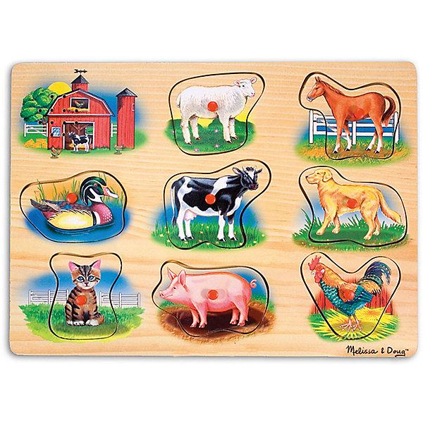 Рамка-вкладыш со звуком Ферма, Melissa &amp; DougПазлы для малышей<br>Пазл со звуком Ферма, Melissa &amp; Doug (Мелисса и Даг) – это уникальный познавательный пазл для вашего малыша.<br>Пазл со звуком Ферма - это яркий, красивый пазл со звуковыми эффектами. На деревянной доске расположены симпатичные обитатели фермы: овечка, лошадь, утка, корова, собака, котенок, свинья и петух. В центре каждой картинки есть пластиковая ручка, за которую элемент пазла удобно держать и вставлять в подходящее для него место. Когда малыш правильно вставляет животное, раздается реалистичный звук его голоса! Собирая пазл, ребенок развивает мелкую моторику и логическое мышление, знакомится с разными видами животных и их голосами.<br><br>Дополнительная информация:<br><br>- Количество элементов: 8<br>- Батарейки: 2 тип ААА (в набор не входят)<br>- Материал: дерево<br>- Размер: 30х22х2,5 см.<br><br>Пазл со звуком Ферма, Melissa &amp; Doug (Мелисса и Даг) можно купить в нашем интернет-магазине.<br>Ширина мм: 200; Глубина мм: 300; Высота мм: 220; Вес г: 543; Возраст от месяцев: 24; Возраст до месяцев: 48; Пол: Унисекс; Возраст: Детский; Количество деталей: 9; SKU: 4005802;
