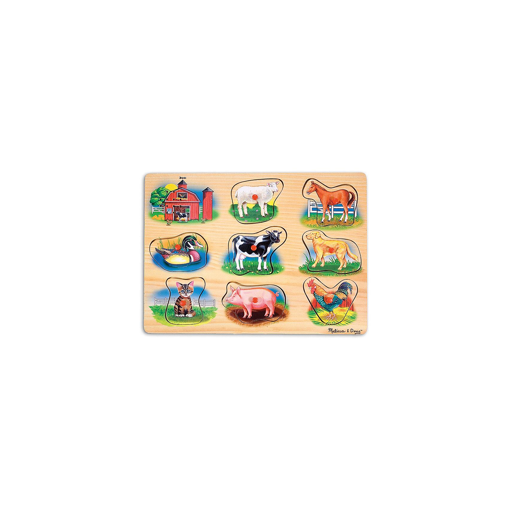Рамка-вкладыш со звуком Ферма, Melissa &amp; DougДеревянные игры и пазлы<br>Пазл со звуком Ферма, Melissa &amp; Doug (Мелисса и Даг) – это уникальный познавательный пазл для вашего малыша.<br>Пазл со звуком Ферма - это яркий, красивый пазл со звуковыми эффектами. На деревянной доске расположены симпатичные обитатели фермы: овечка, лошадь, утка, корова, собака, котенок, свинья и петух. В центре каждой картинки есть пластиковая ручка, за которую элемент пазла удобно держать и вставлять в подходящее для него место. Когда малыш правильно вставляет животное, раздается реалистичный звук его голоса! Собирая пазл, ребенок развивает мелкую моторику и логическое мышление, знакомится с разными видами животных и их голосами.<br><br>Дополнительная информация:<br><br>- Количество элементов: 8<br>- Батарейки: 2 тип ААА (в набор не входят)<br>- Материал: дерево<br>- Размер: 30х22х2,5 см.<br><br>Пазл со звуком Ферма, Melissa &amp; Doug (Мелисса и Даг) можно купить в нашем интернет-магазине.<br><br>Ширина мм: 200<br>Глубина мм: 300<br>Высота мм: 220<br>Вес г: 543<br>Возраст от месяцев: 24<br>Возраст до месяцев: 48<br>Пол: Унисекс<br>Возраст: Детский<br>Количество деталей: 9<br>SKU: 4005802