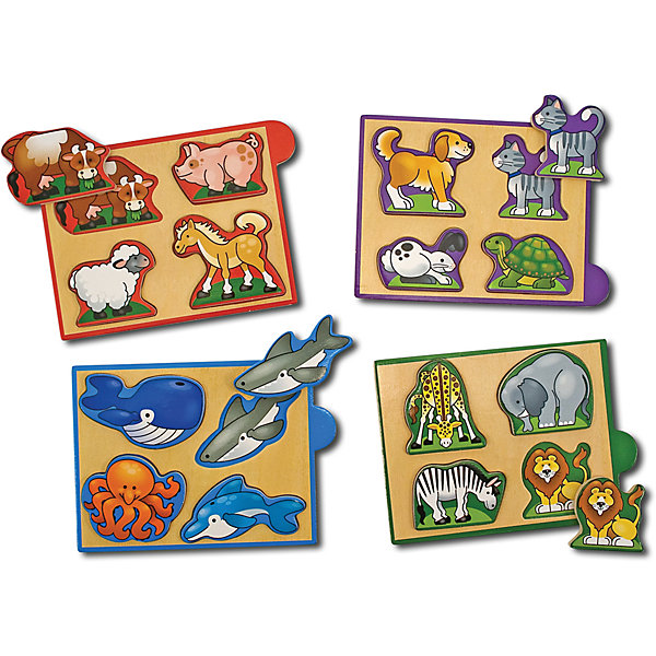 Рамка-вкладыш Животные, Melissa &amp; DougПазлы для малышей<br>Мини-пазл Животные, Melissa &amp; Doug (Мелисса и Даг) –  это уникальный познавательный пазл для вашего малыша.<br>Деревянный мини-пазл Животные познакомит Вашего ребенка с дикими, домашними питомцами, животными с фермы и обитателями морей. Этот красочный набор включает четыре деревянных пазла с изображениями животных. Каждый пазл состоит из четырех деталей. Все они имеют рельефную форму, поэтому маленьким детским ручкам очень легко их брать и удерживать. Каждая деталь соответствует определенному рисунку на игровом поле. Пазлы упакованы в деревянную коробочку – их удобно брать с собой в поездки. Собирая пазлы, малыш развивает мелкую моторику и логическое мышление.<br><br>Дополнительная информация:<br><br>- Количество элементов: 4 пазла по 4 элемента<br>- Материал: дерево<br>- Размер упаковки: 5х12х17 см.<br><br>Мини-пазл Животные, Melissa &amp; Doug (Мелисса и Даг) можно купить в нашем интернет-магазине.<br>Ширина мм: 500; Глубина мм: 160; Высота мм: 120; Вес г: 362; Возраст от месяцев: 24; Возраст до месяцев: 48; Пол: Унисекс; Возраст: Детский; Количество деталей: 16; SKU: 4005807;