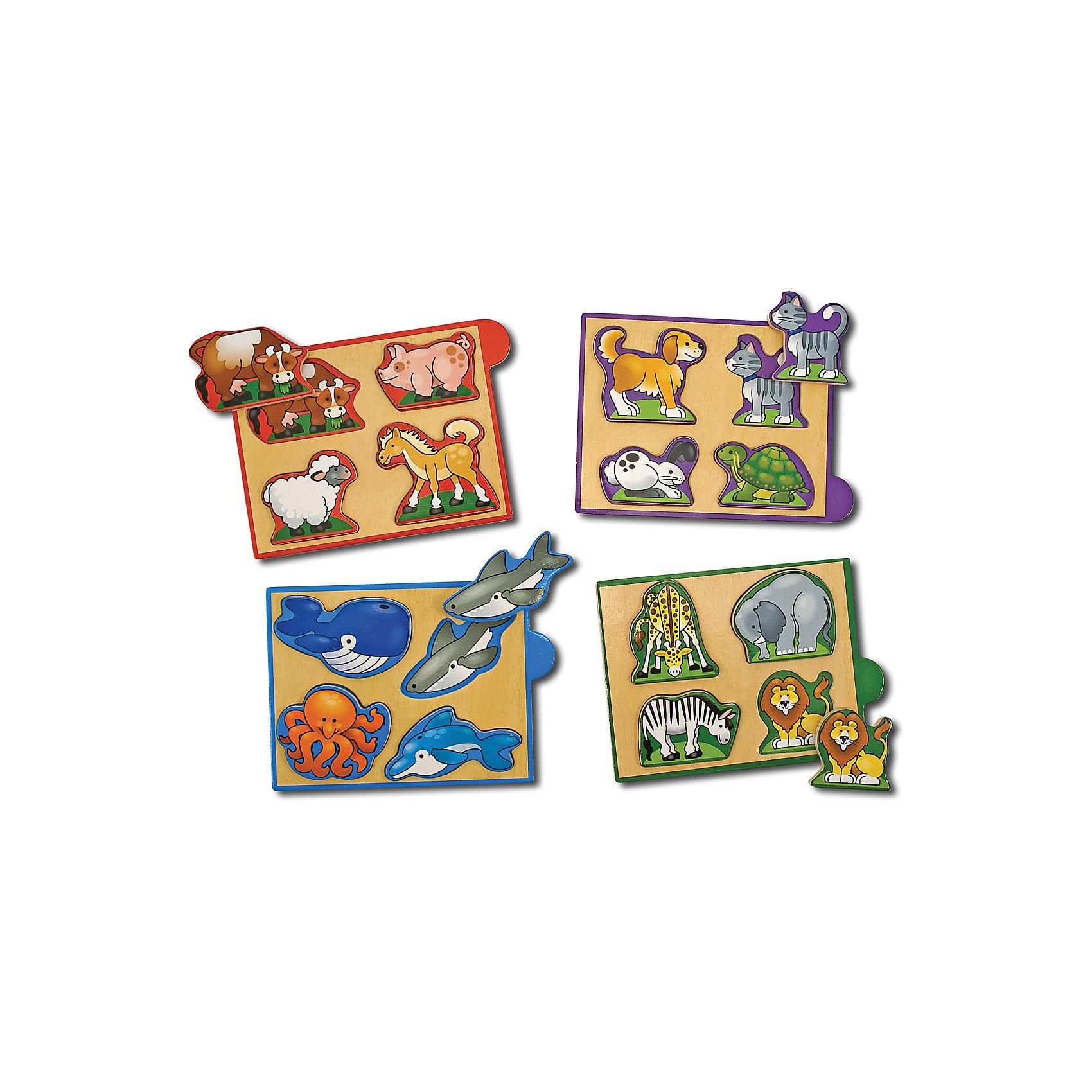 Рамка-вкладыш Животные, Melissa &amp; DougРамки-вкладыши<br>Мини-пазл Животные, Melissa &amp; Doug (Мелисса и Даг) –  это уникальный познавательный пазл для вашего малыша.<br>Деревянный мини-пазл Животные познакомит Вашего ребенка с дикими, домашними питомцами, животными с фермы и обитателями морей. Этот красочный набор включает четыре деревянных пазла с изображениями животных. Каждый пазл состоит из четырех деталей. Все они имеют рельефную форму, поэтому маленьким детским ручкам очень легко их брать и удерживать. Каждая деталь соответствует определенному рисунку на игровом поле. Пазлы упакованы в деревянную коробочку – их удобно брать с собой в поездки. Собирая пазлы, малыш развивает мелкую моторику и логическое мышление.<br><br>Дополнительная информация:<br><br>- Количество элементов: 4 пазла по 4 элемента<br>- Материал: дерево<br>- Размер упаковки: 5х12х17 см.<br><br>Мини-пазл Животные, Melissa &amp; Doug (Мелисса и Даг) можно купить в нашем интернет-магазине.<br><br>Ширина мм: 500<br>Глубина мм: 160<br>Высота мм: 120<br>Вес г: 362<br>Возраст от месяцев: 24<br>Возраст до месяцев: 48<br>Пол: Унисекс<br>Возраст: Детский<br>Количество деталей: 16<br>SKU: 4005807