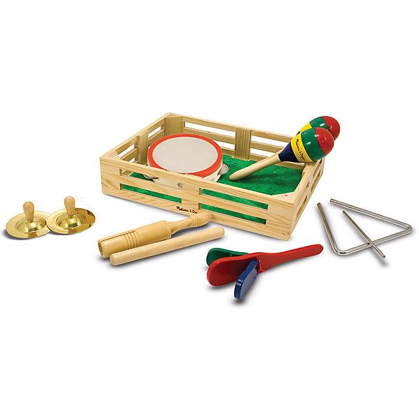 Музыкальные инструменты Melissa&amp;Doug в коробкеДетские музыкальные инструменты<br>Музыкальные инструменты, Melissa &amp; Doug (Мелисса и Даг) – этот набор обрадует малышей любящих музицировать.<br>С помощью этого набора музыкальных инструментов ребенок может создать музыкальную группу из 6 человек. Это отличный набор для знакомства вашего малыша с многообразием музыкальных инструментов и просто развлечение. Детки постарше с большим удовольствием устроят музыкальное выступление для родных и близких в праздничный день. Все инструменты упакованы в деревянный ящик-коробку. Игровой набор поможет развить музыкально-ритмические, творческие способности ребенка, слух, координацию движений.<br><br>Дополнительная информация:<br><br>- В наборе: тамбурин, трещотка, палочки, маракасы, тарелки, музыкальный треугольник<br>- Материал: дерево, металл<br>- Размер упаковки: 38х29х8 см.<br>- Вес: 1427 гр.<br><br>Музыкальные инструменты, Melissa &amp; Doug (Мелисса и Даг) можно купить в нашем интернет-магазине.<br>Ширина мм: 800; Глубина мм: 380; Высота мм: 290; Вес г: 1427; Возраст от месяцев: 36; Возраст до месяцев: 96; Пол: Унисекс; Возраст: Детский; SKU: 4005808;