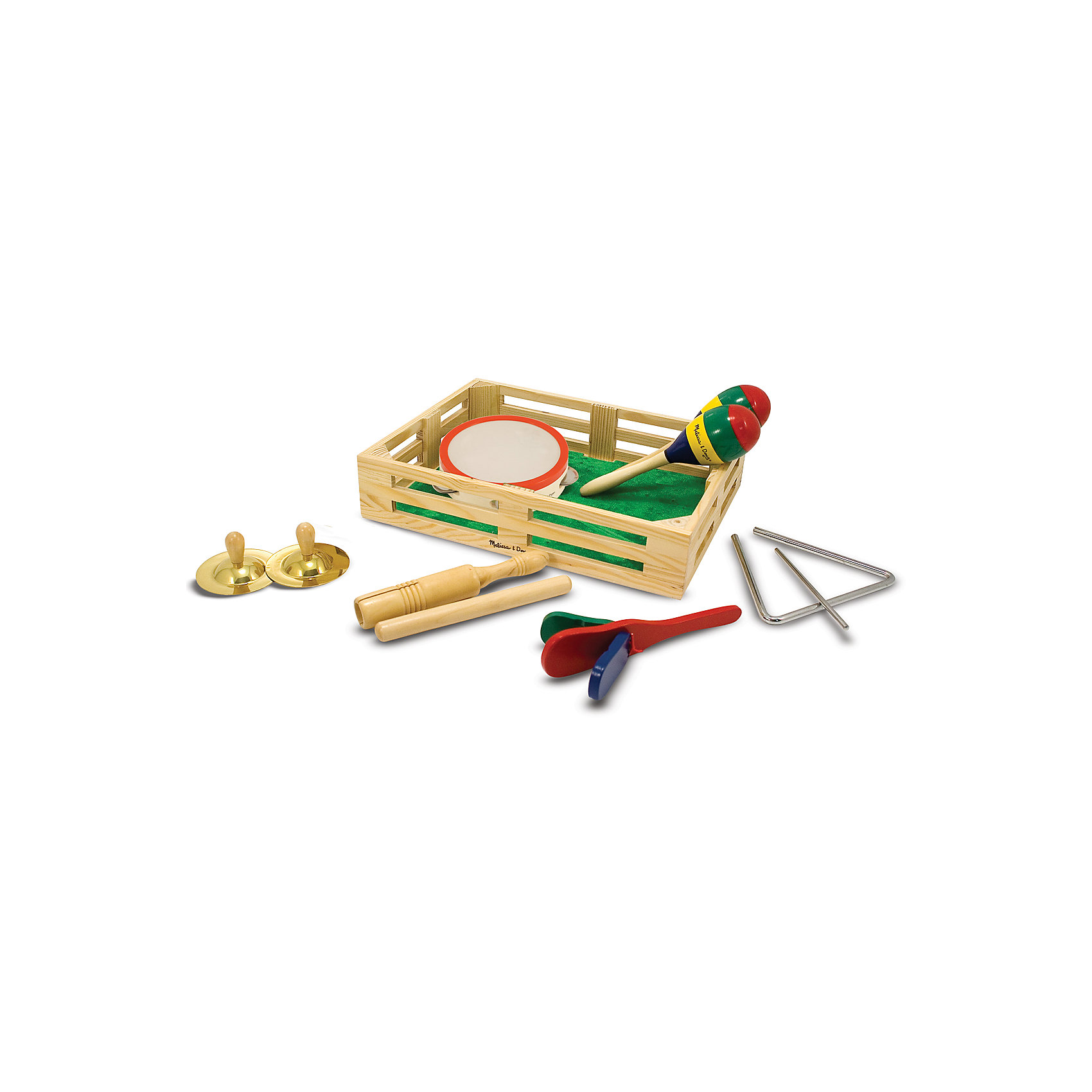 Музыкальные инструменты Melissa&amp;Doug в коробкеДеревянные музыкальные игрушки<br>Музыкальные инструменты, Melissa &amp; Doug (Мелисса и Даг) – этот набор обрадует малышей любящих музицировать.<br>С помощью этого набора музыкальных инструментов ребенок может создать музыкальную группу из 6 человек. Это отличный набор для знакомства вашего малыша с многообразием музыкальных инструментов и просто развлечение. Детки постарше с большим удовольствием устроят музыкальное выступление для родных и близких в праздничный день. Все инструменты упакованы в деревянный ящик-коробку. Игровой набор поможет развить музыкально-ритмические, творческие способности ребенка, слух, координацию движений.<br><br>Дополнительная информация:<br><br>- В наборе: тамбурин, трещотка, палочки, маракасы, тарелки, музыкальный треугольник<br>- Материал: дерево, металл<br>- Размер упаковки: 38х29х8 см.<br>- Вес: 1427 гр.<br><br>Музыкальные инструменты, Melissa &amp; Doug (Мелисса и Даг) можно купить в нашем интернет-магазине.<br><br>Ширина мм: 800<br>Глубина мм: 380<br>Высота мм: 290<br>Вес г: 1427<br>Возраст от месяцев: 36<br>Возраст до месяцев: 96<br>Пол: Унисекс<br>Возраст: Детский<br>SKU: 4005808