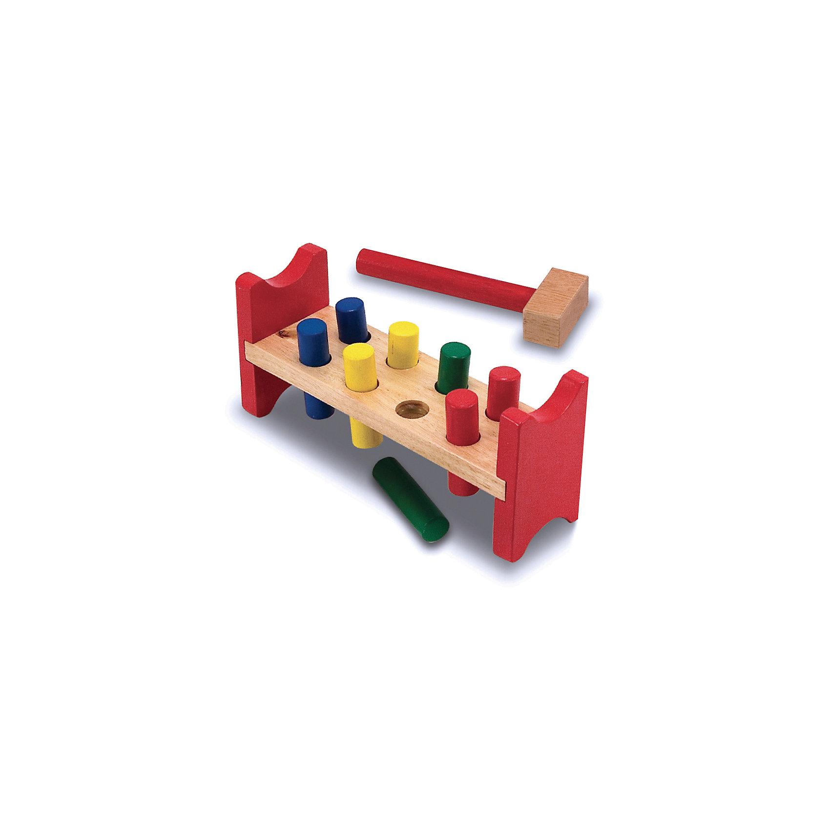 Игрушка Забить в лунки, Melissa &amp; DougРазвивающие игры<br>Игрушка Забить в лунки, Melissa &amp; Doug (Мелисса и Даг) – это игрушка - стучалка, которую обожают все дети.<br>Игрушка Забить в лунки - увлекательная игра для любителя постучать. Забейте восемь красочных деревянных колышков в деревянную скамейку, а затем выньте и забивайте снова и снова! Игрушка развивает координацию движений, внимание, точность, моторику ручек и пальчиков. Изготовлено из натурального хорошо обработанного дерева, окрашенного безопасными нетоксичными красками.<br><br>Дополнительная информация:<br><br>- В наборе: четыре пары цветных кольев, деревянный молоток<br>- Материал: дерево<br>- Размер упаковки: 28х12х8 см.<br>- Вес: 543 гр.<br><br>Игрушку Забить в лунки, Melissa &amp; Doug (Мелисса и Даг) можно купить в нашем интернет-магазине.<br><br>Ширина мм: 800<br>Глубина мм: 280<br>Высота мм: 120<br>Вес г: 543<br>Возраст от месяцев: 24<br>Возраст до месяцев: 48<br>Пол: Унисекс<br>Возраст: Детский<br>SKU: 4005809