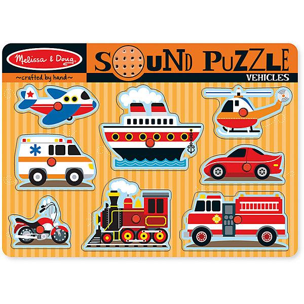 Рамка-вкладыш со звуком Транспорт, 8 деталей, Melissa &amp; DougПазлы для малышей<br>Пазл со звуком Транспорт, 8 деталей, Melissa &amp; Doug (Мелисса и Даг) – это уникальный познавательный пазл для вашего малыша.<br>Пазл со звуком Транспорт - это яркий, красивый пазл со звуковыми эффектами. На деревянной доске расположены 8 транспортных средств. В центре каждой картинки есть пластиковая ручка, за которую элемент пазла удобно держать и вставлять в подходящее для него место. Когда та или иная деревянная часть правильно помещена в отверстие, раздается звук соответствующего транспортного средства! Собирая пазл, ребенок развивает мелкую моторику и логическое мышление, знакомится с различными видами транспорта.<br><br>Дополнительная информация:<br><br>- Количество элементов: 8<br>- Батарейки: 2 тип ААА (в набор не входят)<br>- Материал: дерево<br>- Размер: 30х22х2,5 см.<br><br>Пазл со звуком Транспорт, 8 деталей, Melissa &amp; Doug (Мелисса и Даг) можно купить в нашем интернет-магазине.<br><br>Ширина мм: 200<br>Глубина мм: 300<br>Высота мм: 220<br>Вес г: 543<br>Возраст от месяцев: 24<br>Возраст до месяцев: 48<br>Пол: Унисекс<br>Возраст: Детский<br>Количество деталей: 8<br>SKU: 4005813