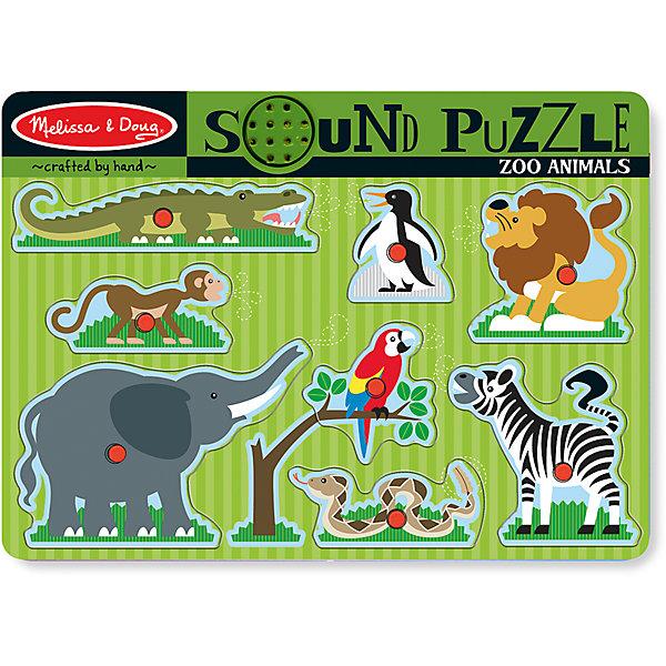 Рамка-вкладыш со звуком Зоопарк, 8 деталей, Melissa &amp; DougПазлы для малышей<br>Пазл со звуком Зоопарк, 8 деталей, Melissa &amp; Doug (Мелисса и Даг) – это уникальный познавательный пазл для вашего малыша.<br>Пазл со звуком Ферма - это яркий, красивый пазл со звуковыми эффектами. На деревянной доске расположены симпатичные обитатели зоопарка: крокодил, мартышка, слон, пингвин, лев, попугай, зебра и удав. В центре каждой картинки есть пластиковая ручка, за которую элемент пазла удобно держать и вставлять в подходящее для него место. Когда малыш правильно вставляет животное, раздается реалистичный звук его голоса! Собирая пазл, ребенок развивает мелкую моторику и логическое мышление, знакомится с разными видами животных и их голосами.<br><br>Дополнительная информация:<br><br>- Количество элементов: 8<br>- Батарейки: 2 тип ААА (в набор не входят)<br>- Материал: дерево<br>- Размер: 30х22х2,5 см.<br><br>Пазл со звуком Зоопарк, 8 деталей, Melissa &amp; Doug (Мелисса и Даг) можно купить в нашем интернет-магазине.<br>Ширина мм: 200; Глубина мм: 300; Высота мм: 220; Вес г: 543; Возраст от месяцев: 24; Возраст до месяцев: 48; Пол: Унисекс; Возраст: Детский; Количество деталей: 8; SKU: 4005815;