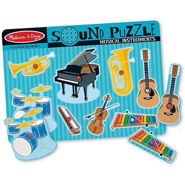Рамка-вкладыш со звуком Музыкальные инструменты, 8 деталей, Melissa &amp; DougПазлы для малышей<br>Пазл со звуком Музыкальные инструменты, 8 деталей, Melissa &amp; Doug (Мелисса и Даг) –  это уникальный познавательный пазл для вашего малыша.<br>Восемь инструментов ждут начинающего дирижера. Поместите часть в виде инструмента в соответствующую форму на игровой доске и услышите, как он играет. В центре каждой картинки есть пластиковая ручка, за которую элемент пазла удобно держать и вставлять в подходящее для него место. Каждый элемент пазла представляет собой красочное изображение музыкального инструмента. С этим замечательным набором у Вашего ребенка будет развиваться мышление, внимательность и музыкальный слух.<br><br>Дополнительная информация:<br><br>- Количество элементов: 8<br>- Батарейки: 2 тип ААА (в набор не входят)<br>- Материал: дерево<br>- Размер: 30х22х2,5 см.<br><br>Пазл со звуком Музыкальные инструменты, 8 деталей, Melissa &amp; Doug (Мелисса и Даг) можно купить в нашем интернет-магазине.<br>Ширина мм: 100; Глубина мм: 300; Высота мм: 220; Вес г: 543; Возраст от месяцев: 24; Возраст до месяцев: 48; Пол: Унисекс; Возраст: Детский; Количество деталей: 8; SKU: 4005816;