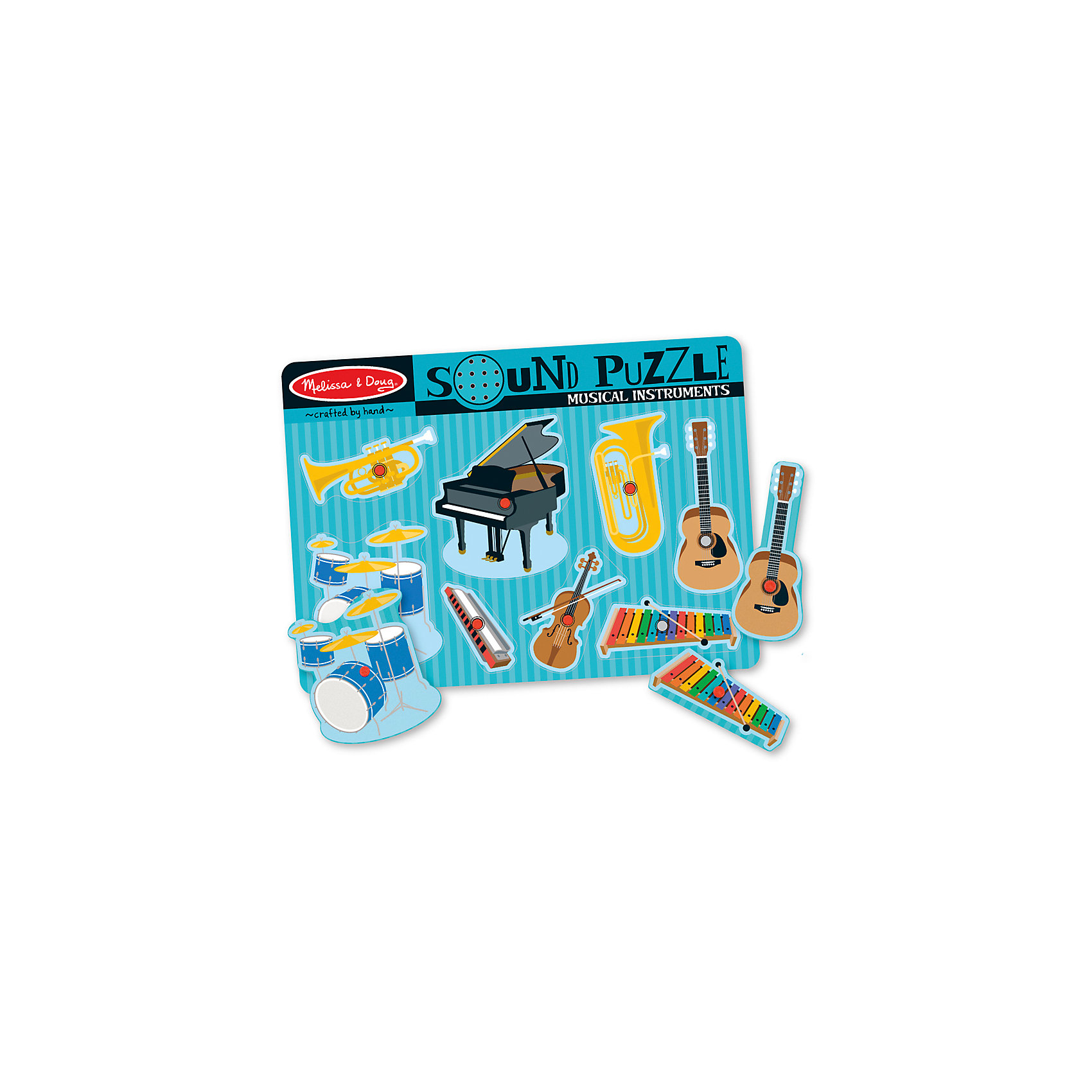 Рамка-вкладыш со звуком Музыкальные инструменты, 8 деталей, Melissa &amp; DougДеревянные игры и пазлы<br>Пазл со звуком Музыкальные инструменты, 8 деталей, Melissa &amp; Doug (Мелисса и Даг) –  это уникальный познавательный пазл для вашего малыша.<br>Восемь инструментов ждут начинающего дирижера. Поместите часть в виде инструмента в соответствующую форму на игровой доске и услышите, как он играет. В центре каждой картинки есть пластиковая ручка, за которую элемент пазла удобно держать и вставлять в подходящее для него место. Каждый элемент пазла представляет собой красочное изображение музыкального инструмента. С этим замечательным набором у Вашего ребенка будет развиваться мышление, внимательность и музыкальный слух.<br><br>Дополнительная информация:<br><br>- Количество элементов: 8<br>- Батарейки: 2 тип ААА (в набор не входят)<br>- Материал: дерево<br>- Размер: 30х22х2,5 см.<br><br>Пазл со звуком Музыкальные инструменты, 8 деталей, Melissa &amp; Doug (Мелисса и Даг) можно купить в нашем интернет-магазине.<br><br>Ширина мм: 100<br>Глубина мм: 300<br>Высота мм: 220<br>Вес г: 543<br>Возраст от месяцев: 24<br>Возраст до месяцев: 48<br>Пол: Унисекс<br>Возраст: Детский<br>Количество деталей: 8<br>SKU: 4005816