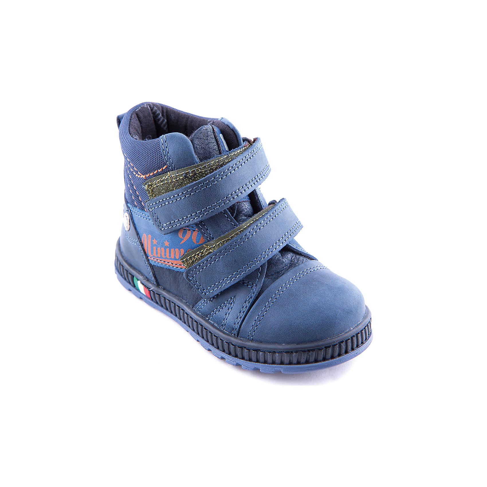 Ботинки для мальчика MinimenМодные демисезонные ботинки для мальчика от известного бренда Minimen. Изделие предназначено для использования в сухую погоду при температуре воздуха выше +5 градусов и обладает следующими особенностями:<br>- темно-синий цвет, эффектный дизайн;<br>- 2 ремешка с велкро;<br>- усиленный противоударный мыс;<br>- укрепленный задник надежно фиксирует пятку;<br>- мягкий верхний задник предотвращает скольжение ступни;<br>- теплая текстильная подкладка;<br>- съемная стелька с супинатором;<br>- легкая нескользящая подошва.<br>Отличная обувь для любимых ножек!<br><br>Дополнительная информация:<br>- Температурный режим: выше +5 градусов<br>- Состав: <br>Материал верха: натуральная кожа  <br>Материал подкладки: текстиль<br><br>Ботинки для мальчика Minimen (Минимен) можно купить в нашем магазине<br><br>Ширина мм: 262<br>Глубина мм: 176<br>Высота мм: 97<br>Вес г: 427<br>Цвет: синий<br>Возраст от месяцев: 24<br>Возраст до месяцев: 24<br>Пол: Мужской<br>Возраст: Детский<br>Размер: 22,23,24,27,29,30,28,21,25,20,26<br>SKU: 4005960