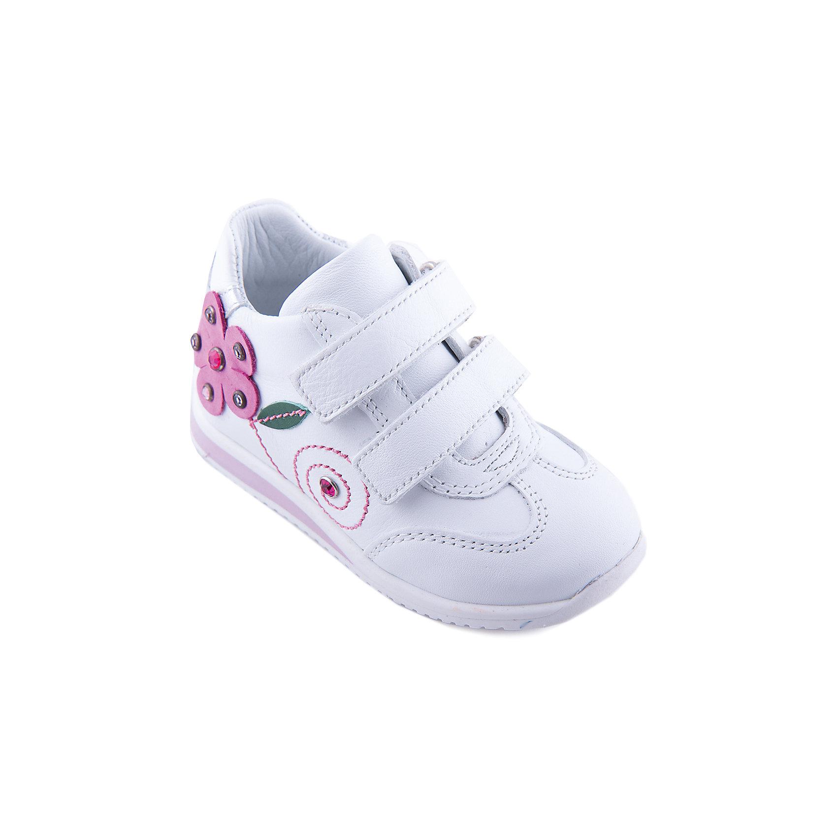 Кроссовки для девочки MinimenСтильные кожаные ортопедические кроссовки для девочки от известного бренда Minimen. Изделие предназначено для использования в сухую погоду при температуре воздуха выше +10 градусов и обладает следующими особенностями:<br>- белоснежный цвет, аппликация и стразы;<br>- усиленный противоударный мыс;<br>- высокий укрепленный задник, надежно фиксирующий пятку;<br>- 2 ремешка с велкро;<br>- мягкая кожаная подкладка;<br>- стелька из натуральной кожи с перфорированным супинатором;<br>- легкая нескользящая подошва с небольшим возвышением в области пятки (около 10 мм).<br>Идеальные кроссовки для самых любимых ножек!<br><br>Дополнительная информация:<br>- Температурный режим: выше +10 градусов<br>- Состав: <br>Материал верха: натуральная кожа 100%; <br>Материал подкладки: натуральная кожа 100%; <br>Материал подошвы: термопластик 100%<br><br>Кроссовки для девочки Minimen (Минимен) можно купить в нашем магазине<br><br>Ширина мм: 262<br>Глубина мм: 176<br>Высота мм: 97<br>Вес г: 427<br>Цвет: белый<br>Возраст от месяцев: 21<br>Возраст до месяцев: 24<br>Пол: Женский<br>Возраст: Детский<br>Размер: 24,21,25,22,23<br>SKU: 4006109