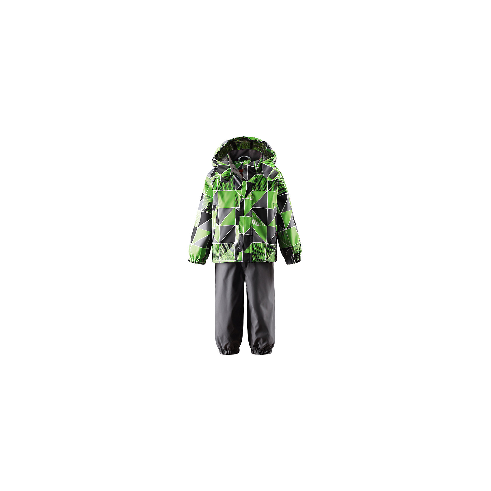 Комплект: куртка и брюки для мальчика LASSIE by ReimaБез утеплителя<br>Температурный режим: от + 5 градусов. При более низких температурах рекомендуется использовать флисовую поддеву <br>Комбинезон для малышей<br>Капюшон отстегивается<br>Съемные штрипки<br>Наружные швы проклеены<br>Карманы на липучках<br>Регулируемые подтяжки<br><br>Дополнительная информация:<br><br>Состав:<br>Материал верха: 100% полиэстер, подкладка 100% полиуретан<br>Водостойкость 5000 мм<br>Воздухопроницаемость: 3000г/м2/24г<br>Износостойкость: 20000 циклов (испытание шлифовальной шкурки на бумаге по Мартиндейлу)<br>Водо- и грязеотталкивающая пропитка<br><br>Комплект: куртка и брюки для мальчика LASSIE by Reima (Ласси от Рейма) можно купить в нашем магазине.<br><br>Ширина мм: 356<br>Глубина мм: 10<br>Высота мм: 245<br>Вес г: 519<br>Цвет: зеленый<br>Возраст от месяцев: 9<br>Возраст до месяцев: 12<br>Пол: Мужской<br>Возраст: Детский<br>Размер: 80,92,86,74,98<br>SKU: 4006762