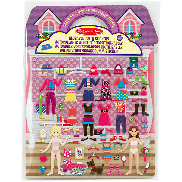 Набор со стикерами и фоном Магазин одежды, Melissa &amp; DougДругие наборы<br>Великолепный подарок для любой девочки – это Набор со стикерами и фоном Магазин одежды, Melissa &amp; Doug (Мелисса и Даг), который представляет собой 4 глянцевых фона и 76 объемных наклеек, в том числе 2 куколки, элементы их гардероба, аксессуары, домашние животные. Можно организовать самый настоящий магазин одежды и примерять всевозможные наряды, обувь, сумочки. Одевайте куклу и создавайте наряд ее мечты, а также заполняйте шкафы одеждой с помощью наклеек из набора. Наклейки легко и удобно наносятся, их можно многократно использовать, придумывая различные сюжеты из жизни подружек. А мебель и очаровательные животные, которые можно прикреплять к фону с изображением комнат и сада, добавят еще больше интереса в игру. Набор развивает творческие способности, фантазию и воображение, мелкую моторику и сенсорное восприятие.<br><br>Комплектация: фон и 76 наклеек<br><br>Дополнительная информация:<br>-Материал: бумага, картон<br>-Размер в упаковке: 29х21х1 см<br><br>Увлекательная и интересная игра непременно привлечет внимание вашего ребенка, а набор станет для него отличным подарком.<br><br>Набор со стикерами и фоном Магазин одежды, Melissa &amp; Doug (Мелисса и Даг) можно купить в нашем магазине.<br><br>Ширина мм: 220<br>Глубина мм: 220<br>Высота мм: 280<br>Вес г: 580<br>Возраст от месяцев: 48<br>Возраст до месяцев: 180<br>Пол: Женский<br>Возраст: Детский<br>SKU: 4008260
