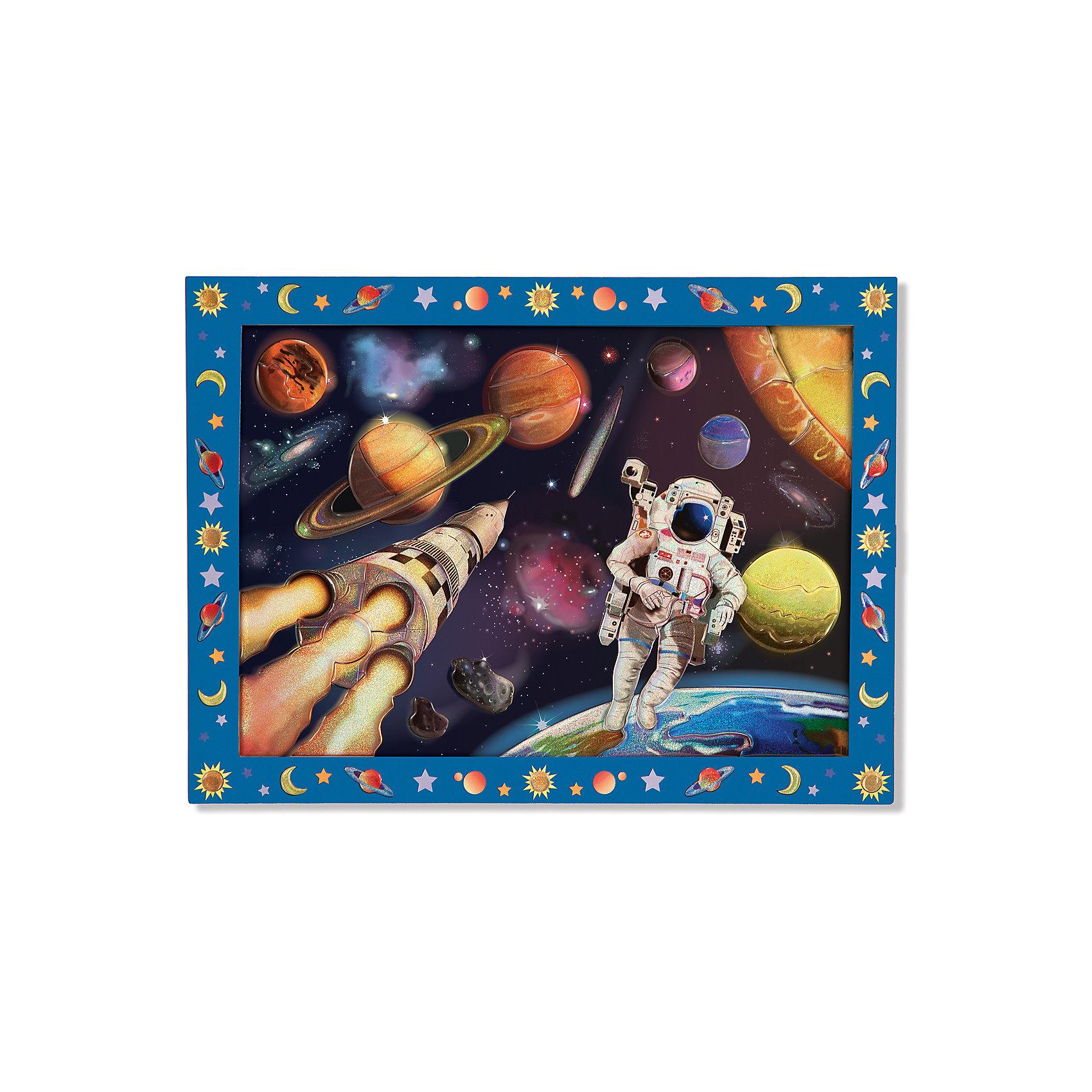 Мозаика Космическая Миссия, Melissa &amp; DougМозаика<br>С помощью цветных блестящих пронумерованных наклеек  из набора Мозаика Космическая Миссия, Melissa &amp; Doug (Мелисса и Даг) Ваш ребенок сможет создать потрясающую картину космоса. Красочная мозаика имеет деревянную основу с пронумерованными ячейками, на которые клеятся стикеры-пазлы с соответствующими цифрами. Ребенок с удовольствием будет складывать из отдельных элементов красочное изображение космоса. В результате получится красивый рисунок, которым ваш ребенок будет гордиться и сможет повесить на стену в своей комнате. Набор развивает мелкую моторику рук, фантазию, зрительную память.<br><br>Комплектация: деревянная основа, более 60 стикеров<br><br>Дополнительная информация:<br>-Материал: дерево, картон <br>-Размер упаковки: 40х30х1,3 см<br>-Вес: 450 г<br><br>Набор для детского творчества «Космическая Миссия» порадует мальчиков оригинальной мерцающей мозаикой с изображением космического пространства с космонавтом, космическим кораблем и небесными телами.<br><br>Мозаика Космическая Миссия, Melissa &amp; Doug (Мелисса и Даг) можно купить в нашем магазине.<br><br>Ширина мм: 400<br>Глубина мм: 400<br>Высота мм: 300<br>Вес г: 620<br>Возраст от месяцев: 60<br>Возраст до месяцев: 180<br>Пол: Унисекс<br>Возраст: Детский<br>SKU: 4008268