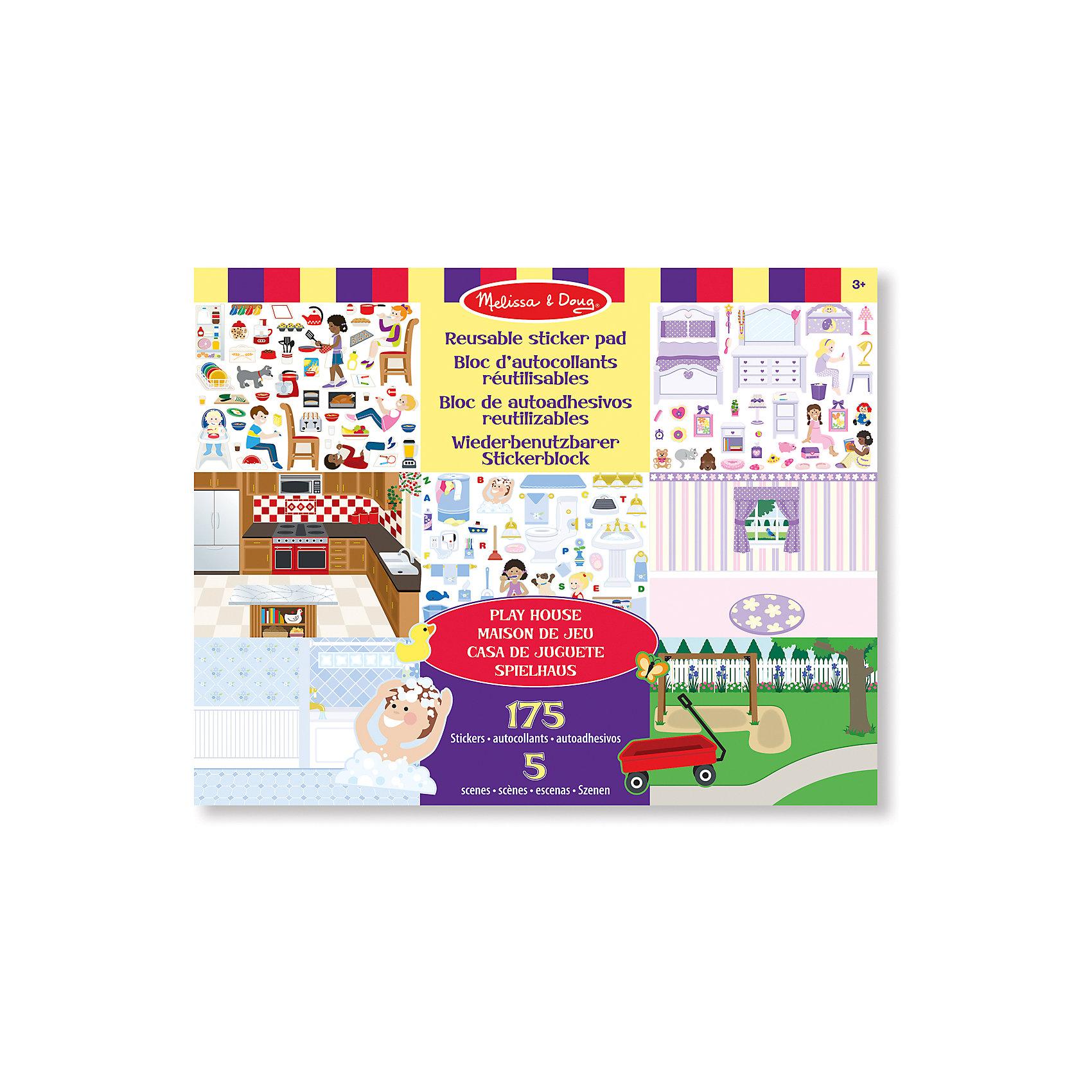 Набор стикеров Домик для игр, Melissa &amp; DougКрасочный Набор стикеров Домик для игр, Melissa &amp; Doug (Мелисса и Даг) придуман специально для увлекательных сюжетно-ролевых игр, он включает в себя 5 фонов различных комнат и более 170 наклеек мебели и предметов интерьера. На их основе ребенок сможет создавать различные интерьеры и придумывать игровые ситуации и жизненные истории.<br><br>Творческие наборы для детей из натуральных материалов от компании «Мелисса и Даг» стимулируют раннее развитие ребенка, направлены на расширение кругозора и любознательности, тренировку мелкой моторики и интеллектуальное развитие в процессе игры и создания оригинальных украшений и аксессуаров.<br><br>Комплектация: более 170 стикеров, 5 фонов интерьеров<br><br>Дополнительная информация:<br>-Материал: бумага, картон<br>-Размер упаковки: 28х35,5х0,5 см<br>-Вес: 400 г<br><br>Набор «Домик для игр» открывает простор фантазии ребенка, позволяя и девочке, и мальчику почувствовать себя юным дизайнером интерьера. <br><br>Набор стикеров Домик для игр, Melissa &amp; Doug (Мелисса и Даг) можно купить в нашем магазине.<br><br>Ширина мм: 360<br>Глубина мм: 360<br>Высота мм: 280<br>Вес г: 390<br>Возраст от месяцев: 36<br>Возраст до месяцев: 180<br>Пол: Унисекс<br>Возраст: Детский<br>SKU: 4008276