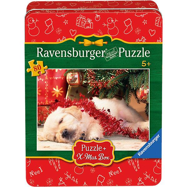 Пазл Рождественский щенок, 80 деталей, RavensburgerПазлы для малышей<br>Пазл Рождественский щенок, 80 деталей, Ravensburger (Равенсбургер).<br><br>Характеристика:<br><br>• Материал: картон. <br>• Размер упаковки: 22х17х5 см. <br>• Размер готовой картинки: 36х26 см. <br>• Количество деталей: 80.<br><br>Дети обожают собирать пазлы. Это очень интересное и полезное занятие, которое поможет ребенку развить мелкую моторику, внимание, цветовосприятие, усидчивость и образное мышление. Картинка с очаровательным щенком станет прекрасным украшением комнаты или же отличным подарком, сделанным своими руками. <br><br>Пазл Рождественский щенок, 80 деталей, Ravensburger (Равенсбургер), можно купить в нашем интернет-магазине.<br><br>Ширина мм: 220<br>Глубина мм: 170<br>Высота мм: 50<br>Вес г: 393<br>Возраст от месяцев: 60<br>Возраст до месяцев: 84<br>Пол: Женский<br>Возраст: Детский<br>Количество деталей: 80<br>SKU: 4008535