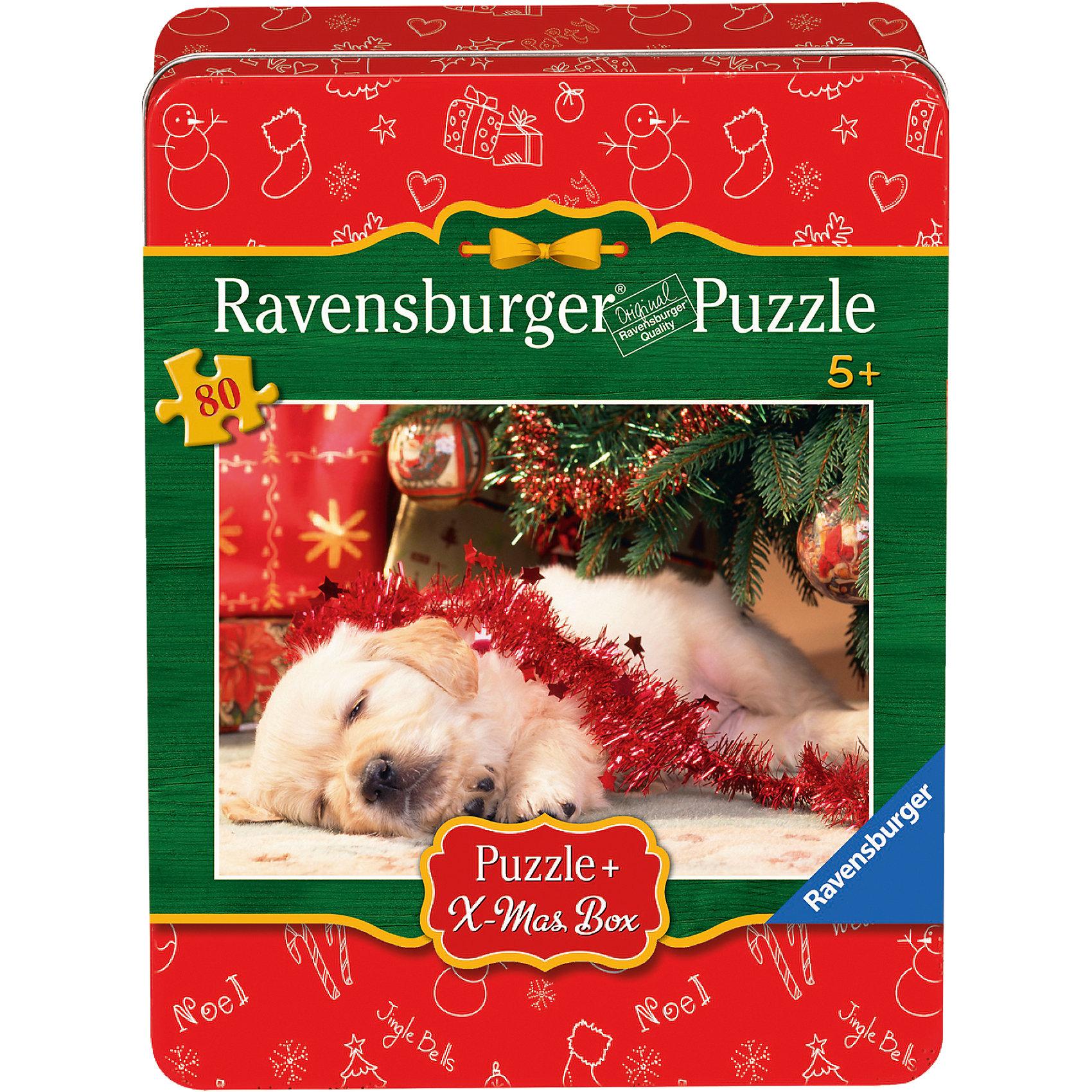 Пазл Рождественский щенок, 80 деталей, RavensburgerКлассические пазлы<br>Пазл Рождественский щенок, 80 деталей, Ravensburger (Равенсбургер).<br><br>Характеристика:<br><br>• Материал: картон. <br>• Размер упаковки: 22х17х5 см. <br>• Размер готовой картинки: 36х26 см. <br>• Количество деталей: 80.<br><br>Дети обожают собирать пазлы. Это очень интересное и полезное занятие, которое поможет ребенку развить мелкую моторику, внимание, цветовосприятие, усидчивость и образное мышление. Картинка с очаровательным щенком станет прекрасным украшением комнаты или же отличным подарком, сделанным своими руками. <br><br>Пазл Рождественский щенок, 80 деталей, Ravensburger (Равенсбургер), можно купить в нашем интернет-магазине.<br><br>Ширина мм: 220<br>Глубина мм: 170<br>Высота мм: 50<br>Вес г: 393<br>Возраст от месяцев: 60<br>Возраст до месяцев: 84<br>Пол: Женский<br>Возраст: Детский<br>Количество деталей: 80<br>SKU: 4008535