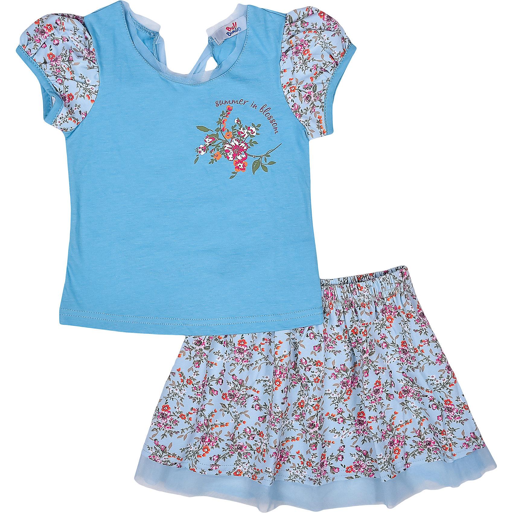 Комплект: футболка и юбка для девочки Bell BimboКомплект для девочки  состоит из футболки и юбки. Нежная футболка с коротким рукавом, печатью и оригинальной спинкой, в сочетании с набивной юбкой красочного цветочного принта и интересной окантовкой в виде сетки, будет отлично сидеть на ребенке.<br>Состав:<br>100% хлопок<br>Отделка 95% хлопок, 5% эластан<br><br>Ширина мм: 207<br>Глубина мм: 10<br>Высота мм: 189<br>Вес г: 183<br>Цвет: голубой<br>Возраст от месяцев: 36<br>Возраст до месяцев: 48<br>Пол: Женский<br>Возраст: Детский<br>Размер: 104,98,110,122,116<br>SKU: 4009219
