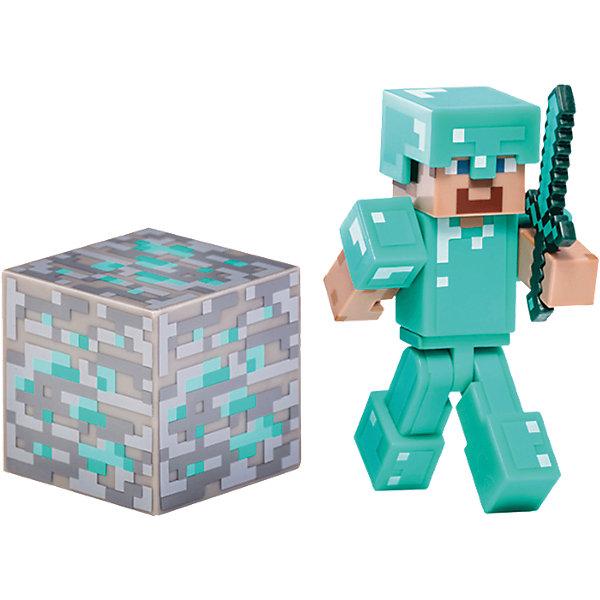 Фигурка Стив, 8см, MinecraftКоллекционные и игровые фигурки<br>Фигурка Стив, 8см, Minecraft (Майнкрафт) – это игровой набор, выполненный по мотивам культовой игры Майнкрафт.<br>Поклонники игры Minecraft по достоинству оценят игрушку – фигурку Стива с аксессуарами. Стив популярный персонаж Minecraft одет в доспехи бирюзового цвета. Фигурка полностью подвижная, шлем снимается. В комплект входит кубик алмаза и меч, который вкладывается в руку. Этот набор превосходно подойдет в качестве подарка ребенку или фанату игры Minecraft. В процессе игры ребенок будет выдумывать различные сюжеты, развивая свое воображение. Игрушка сделана из качественного и безопасного пластика.<br><br>Дополнительная информация:<br><br>- В комплекте: фигурка Стива, меч, кубик<br>- Материал: высококачественный пластик<br>- Размер: 8 см.<br>- Размер упаковки: 18 x 15 x 3 см.<br><br>Фигурку Стив, 8см, Minecraft (Майнкрафт) можно купить в нашем интернет-магазине.<br><br>Ширина мм: 179<br>Глубина мм: 144<br>Высота мм: 48<br>Вес г: 75<br>Возраст от месяцев: 72<br>Возраст до месяцев: 120<br>Пол: Мужской<br>Возраст: Детский<br>SKU: 4009820