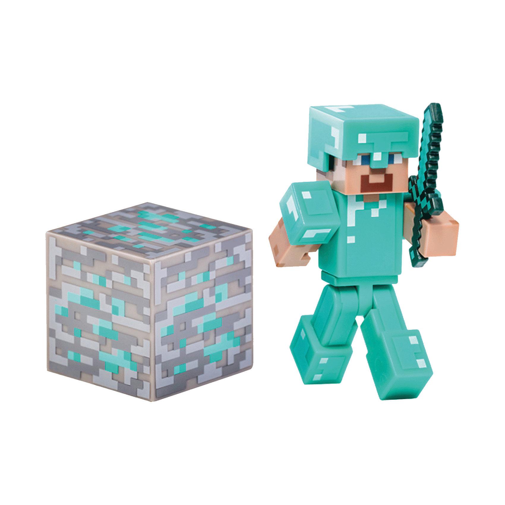 Фигурка Стив, 8см, MinecraftФигурка Стив, 8см, Minecraft (Майнкрафт) – это игровой набор, выполненный по мотивам культовой игры Майнкрафт.<br>Поклонники игры Minecraft по достоинству оценят игрушку – фигурку Стива с аксессуарами. Стив популярный персонаж Minecraft одет в доспехи бирюзового цвета. Фигурка полностью подвижная, шлем снимается. В комплект входит кубик алмаза и меч, который вкладывается в руку. Этот набор превосходно подойдет в качестве подарка ребенку или фанату игры Minecraft. В процессе игры ребенок будет выдумывать различные сюжеты, развивая свое воображение. Игрушка сделана из качественного и безопасного пластика.<br><br>Дополнительная информация:<br><br>- В комплекте: фигурка Стива, меч, кубик<br>- Материал: высококачественный пластик<br>- Размер: 8 см.<br>- Размер упаковки: 18 x 15 x 3 см.<br><br>Фигурку Стив, 8см, Minecraft (Майнкрафт) можно купить в нашем интернет-магазине.<br><br>Ширина мм: 178<br>Глубина мм: 145<br>Высота мм: 52<br>Вес г: 76<br>Возраст от месяцев: 72<br>Возраст до месяцев: 120<br>Пол: Мужской<br>Возраст: Детский<br>SKU: 4009820