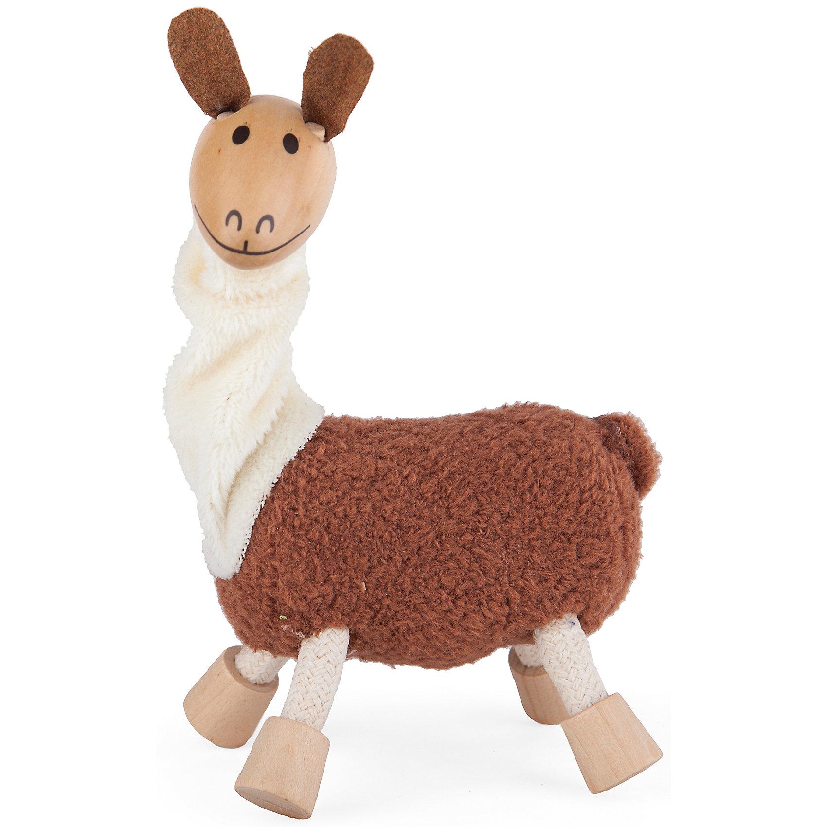 Лама,  AnaMalzМир животных<br>Милые деревянные зверюшки AnaMalz очаруют и детей и их родителей, а их трогательный внешний вид и оригинальный современный дизайн изменят Ваше привычное представление о деревянных игрушках. Придуманные австралийским дизайнером Луизой Косан-Скотт, деревянные фигурки покоряют своим уютом и пластичностью и уже завоевали множество наград, включая международную премию в области дизайна Standards Australia. Для изготовления игрушек используется быстрорастущее игольчатое дерево (schima superba), которое специально выращивают на плантациях. Отдельные детали зверюшек выполнены из натуральных тканей и термопластичной резины (TPR) - безопасного материала, который является экологичной альтернативой пластмассе. Все фигурки AnaMalz раскрашиваются вручную с использованием безопасной для детей краски.<br><br>Очаровательная лама с забавной мордочкой непременно понравится Вашему малышу. Голова и копыта зверюшки выполнены из дерева, а ушки, туловище и подвижная шея - из мягких текстильных тканей. Ноги сделаны из гибкой веревки и гнутся в разные стороны, что позволяет ламе принимать различные позы. Игрушка, выполненная из дерева и различных фактур, способствует развитию у ребенка тактильного восприятия и мелкой моторики.<br><br>Дополнительная информация:<br><br>- Материал: дерево, ткань.<br>- Размер игрушки: 10 х 4 х 11 см.<br>- Вес: 50 гр.<br><br>Ламу, AnaMalz, можно купить в нашем интернет-магазине.<br><br>Ширина мм: 11<br>Глубина мм: 4<br>Высота мм: 10<br>Вес г: 46<br>Возраст от месяцев: 36<br>Возраст до месяцев: 168<br>Пол: Унисекс<br>Возраст: Детский<br>SKU: 4010625