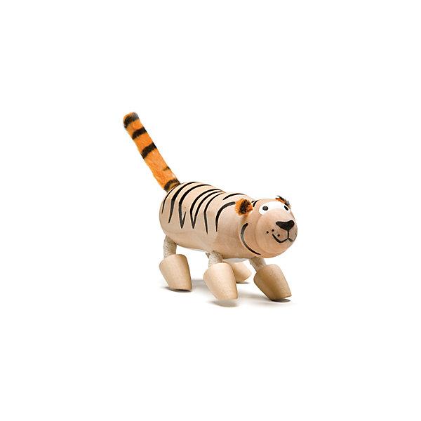 Тигренок, AnaMalzИгровые фигурки животных<br>Характеристики товара:<br><br>• возраст: от 3 лет;<br>• размер игрушки: 9,5х5,5х4 см;<br>• материал: дерево, текстиль;<br>• размер упаковки: 15х12х5см;<br>• страна бренда: Австралия.<br><br>Деревянная фигурка Тигрёнок имеет полосатую окраску, мягкие ушки и хвостик. Туловище игрушки изготовлено из дерева, а ноги дополнены текстильными вставками, благодаря чему их можно сгибать и поворачивать. Тигрёнок изготовлен из экологически чистых материалов, покрашен безопасными для детей красками, вручную.  Игра способствует развитию мелкой моторики, фантазии и воображения.<br><br>Тигренка, AnaMalz (АнаМалз) можно купить в нашем интернет-магазине.<br>Ширина мм: 10; Глубина мм: 4; Высота мм: 6; Вес г: 54; Возраст от месяцев: 36; Возраст до месяцев: 168; Пол: Унисекс; Возраст: Детский; SKU: 4010631;