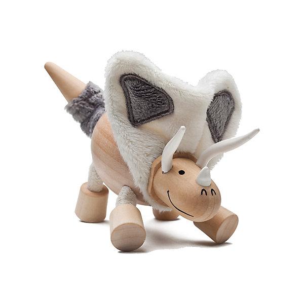 Торозавр,  AnaMalzИгровые фигурки животных<br>Милые деревянные зверюшки AnaMalz очаруют и детей и их родителей, а их трогательный внешний вид и оригинальный современный дизайн изменят Ваше привычное представление о деревянных игрушках. Придуманные австралийским дизайнером Луизой Косан-Скотт, деревянные фигурки покоряют своим уютом и пластичностью и уже завоевали множество наград, включая международную премию в области дизайна Standards Australia. Для изготовления игрушек используется быстрорастущее игольчатое дерево (schima superba), которое специально выращивают на плантациях. Отдельные детали зверюшек выполнены из натуральных тканей и термопластичной резины (TPR) - безопасного материала, который является экологичной альтернативой пластмассе. Все фигурки AnaMalz раскрашиваются вручную с использованием безопасной для детей краски.<br><br>Деревянный торозавр AnaMalz обладает такой же оригинальной причудливой внешностью как и его доисторический прототип. У динозаврика деревянные голова, туловище, копыта и кончик хвоста. На шее большой характерный воротник, выполненный из мягкой ткани, веселую мордочку украшают три рога из термопластичной резины (TPR). Ноги сделаны из гибкой веревки и гнутся в разные стороны, что позволяет игрушке принимать различные позы. Фигурка, выполненная из дерева и различных фактур, способствует развитию у ребенка тактильного восприятия и мелкой моторики.<br><br>Дополнительная информация:<br><br>- Материал: дерево, ткань, термопластичная резина.<br>- Размер игрушки: 18 х 5 х 10 см.<br>- Вес: 113 гр.<br><br>Торозавра, AnaMalz, можно купить в нашем интернет-магазине.<br><br>Ширина мм: 18<br>Глубина мм: 5<br>Высота мм: 10<br>Вес г: 113<br>Возраст от месяцев: 36<br>Возраст до месяцев: 168<br>Пол: Унисекс<br>Возраст: Детский<br>SKU: 4010635