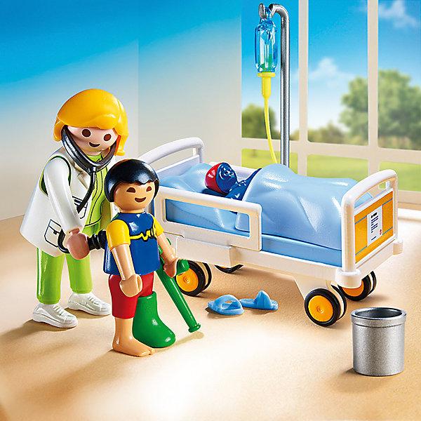 Детская клиника: Доктор с ребенком, PLAYMOBILПластмассовые конструкторы<br>Малыш сломал ногу и теперь ему приходится лежать в больнице. К счастью, заботливый и умный доктор быстро вылечит его. В палате установлена удобная кровать (предназначена исключительно для фигурок детей), боковые стенки которой можно снять. Фигурки имеют подвижные конечности, в руки можно вложить различные предметы. Все детали прекрасно проработаны и выполнены из высококачественного экологичного пластика безопасного для детей. Играть с таким набором не только приятно и интересно - подобные виды игры развивают мелкую моторику, воображение, творческое мышление.<br><br>Дополнительная информация:<br><br>- 2 фигурки.<br>- Комплектация: 2 фигурки, игрушка, гипс на ногу и на руку, повязка на голову, мусорное ведро, тапочки, капельница, кровать. <br>- Материал: пластик.<br>- Размер упаковки: 20х15х7 см.<br>- Высота фигурки: 7,5 см.<br>- Высота фигурки ребенка: 5,5 см.<br>- Голова, руки, ноги у фигурки подвижные.<br><br>Набор Детская клиника: Доктор с ребенком, PLAYMOBIL (Плеймобил), можно купить в нашем магазине.<br><br>Ширина мм: 146<br>Глубина мм: 142<br>Высота мм: 68<br>Вес г: 123<br>Возраст от месяцев: 48<br>Возраст до месяцев: 120<br>Пол: Унисекс<br>Возраст: Детский<br>SKU: 4012466
