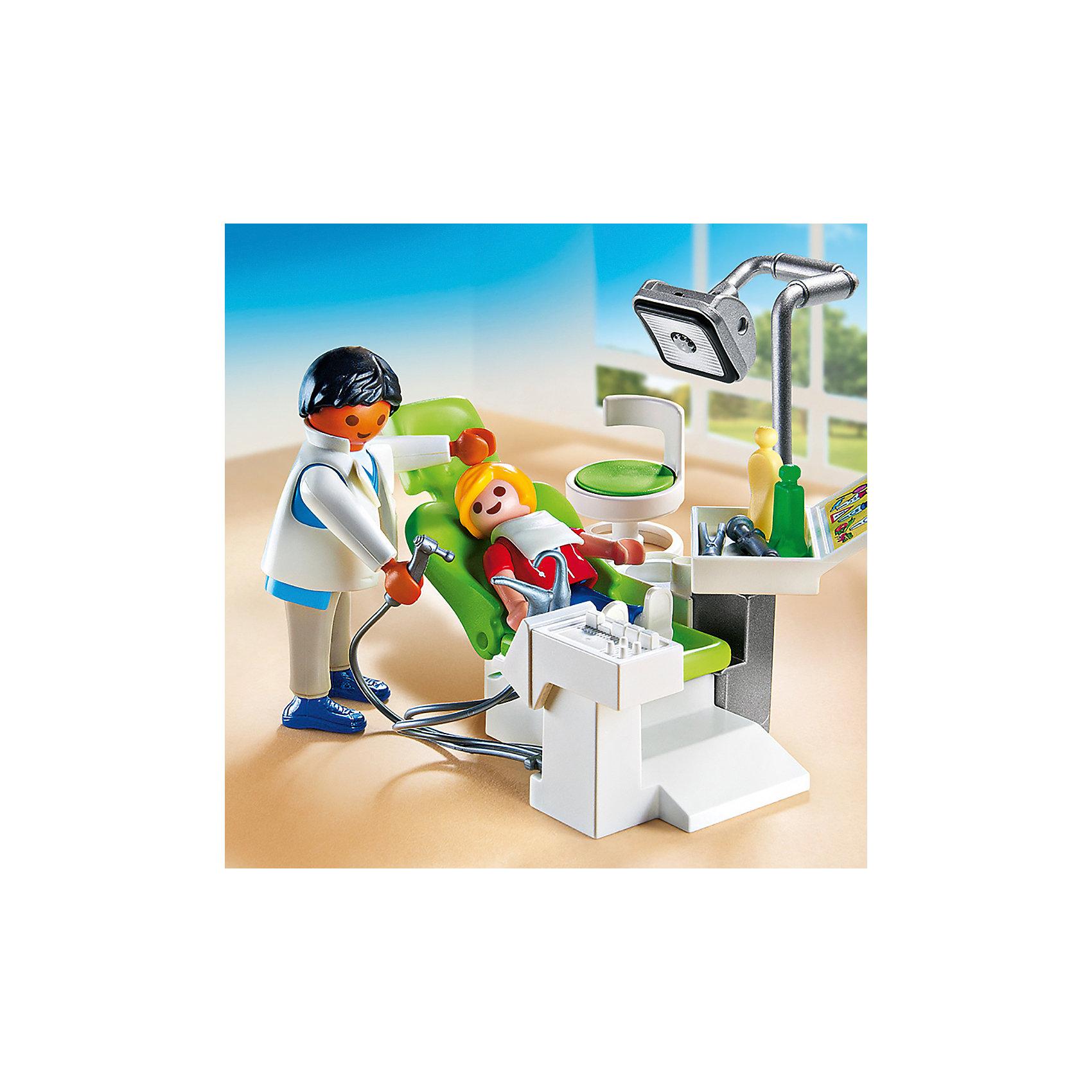 Детская клиника: Дантист с пациентом, PLAYMOBILВнимательный и тактичный детский стоматолог вылечит все зубки быстро и без боли. В набор входят 2 фигурки, из медицинское кресло, выглядящее в точности, как настоящее кресло стоматолога, лампа, бор-машина, многочисленные аксессуары, которые сделают игру еще реалистичнее и увлекательнее. Фигурки имеют подвижные конечности, в руки можно вложить различные предметы. Все детали прекрасно проработаны и выполнены из высококачественного экологичного пластика безопасного для детей. Играть с таким набором не только приятно и интересно - подобные виды игры развивают мелкую моторику, воображение, творческое мышление.<br><br>Дополнительная информация:<br><br>- 2 фигурки в наборе: врач, пациент. <br>- Комплектация: фигурки, кресло, бор-машина, лампа, аксессуары.<br>- Материал: пластик.<br>- Размер упаковки: 15х14,5х4 см.<br>- Высота фигурки: 7,5 см.<br>- Высота фигурки ребенка: 5,5 см.<br>- Голова, руки, ноги у фигурок подвижные.<br><br>Набор Детская клиника: Дантист с пациентом, PLAYMOBIL (Плеймобил), можно купить в нашем магазине.<br><br>Ширина мм: 145<br>Глубина мм: 142<br>Высота мм: 45<br>Вес г: 117<br>Возраст от месяцев: 48<br>Возраст до месяцев: 120<br>Пол: Унисекс<br>Возраст: Детский<br>SKU: 4012467
