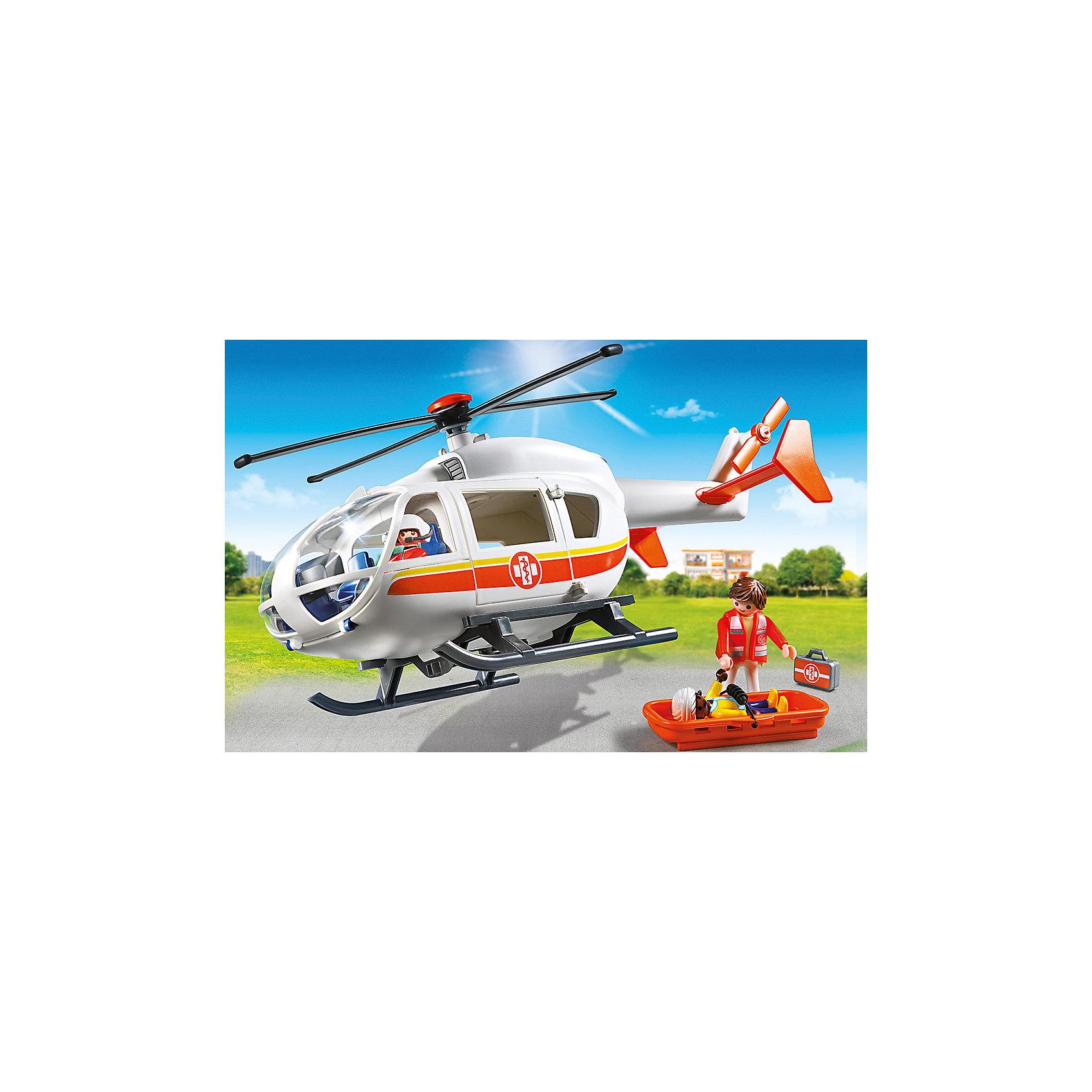 PLAYMOBIL® Детская клиника: Вертолет скорой помощи, PLAYMOBIL playmobil® зоопарк стая фламинго playmobil