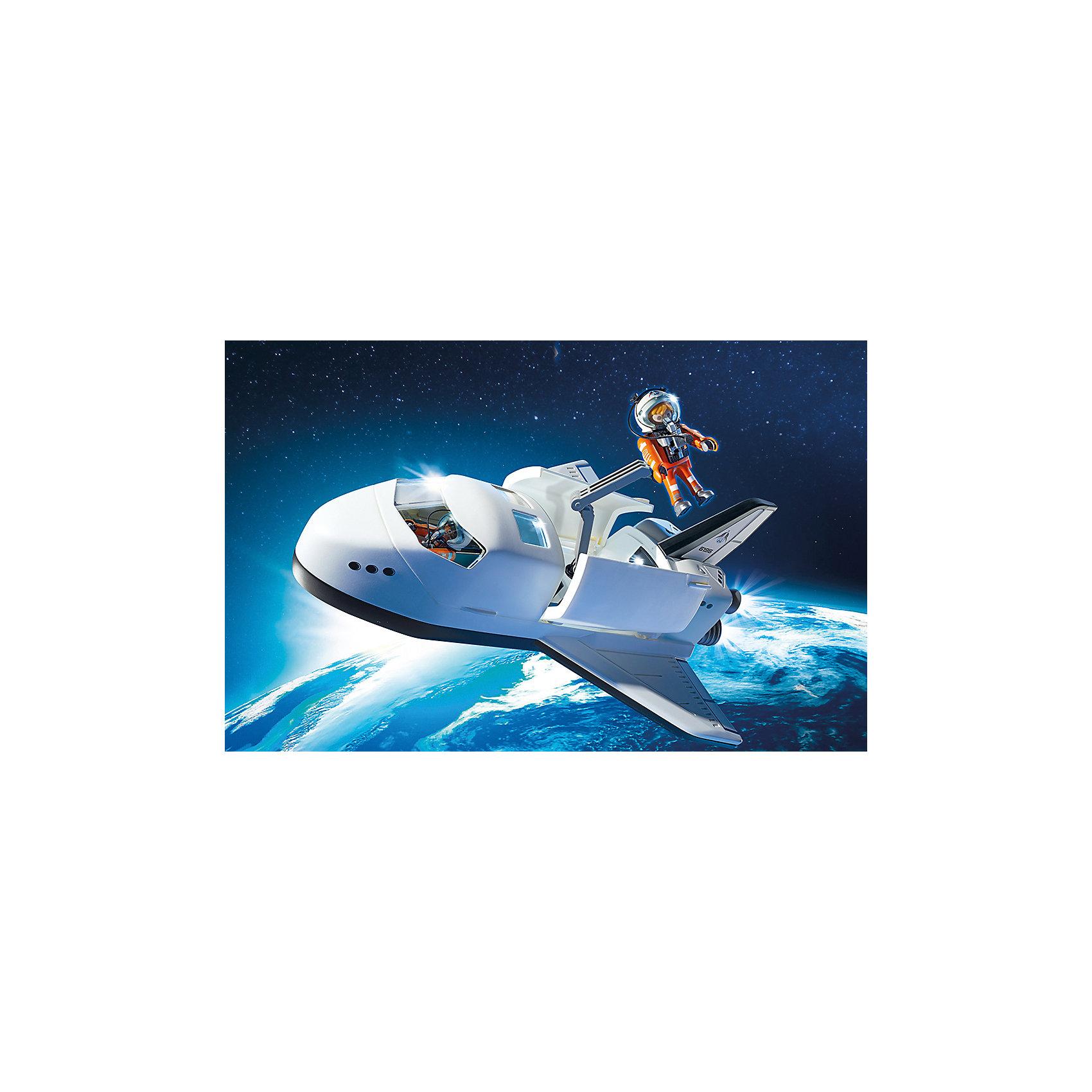 Космический шаттл, PLAYMOBILС этим замечательным набором ты сможешь отправиться  в космос! Модель шаттла выглядит как настоящая, сзади загораются огни, есть стреляющая пушка, способная разбивать метеориты. Крыша шаттла съемная, люки открываются, створки грузового отсека оснащены шарнирными замками. В наборе - 2 фигурки астронавта. Все детали прекрасно проработаны и выполнены из высококачественного экологичного пластика безопасного для детей. Играть с таким набором не только приятно и интересно - подобные виды игры развивают мелкую моторику, воображение, творческое мышление.<br><br>Дополнительная информация:<br><br>- 2 фигурки в наборе. <br>- Комплектация: 2 фигурки, аксессуары, шаттл, пушка. <br>- Материал: пластик.<br>- Размер упаковки: 39х28х12,6 см.<br>- Высота фигурки: 7,5 см.<br>- Голова, руки, ноги у фигурок подвижные.<br><br>Набор Космический шаттл, PLAYMOBIL (Плеймобил), можно купить в нашем магазине.<br><br>Ширина мм: 391<br>Глубина мм: 284<br>Высота мм: 129<br>Вес г: 826<br>Возраст от месяцев: 72<br>Возраст до месяцев: 144<br>Пол: Мужской<br>Возраст: Детский<br>SKU: 4012472