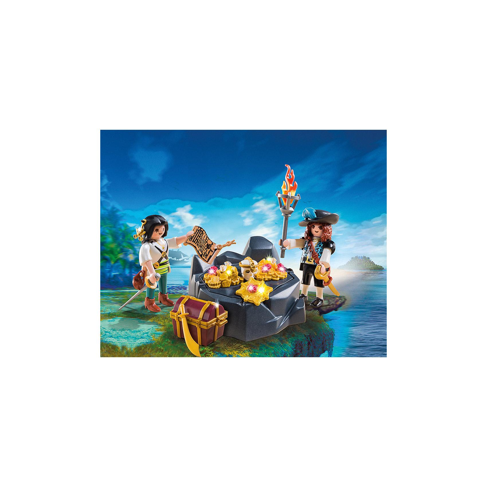 Пиратский тайник с сокровищами, PLAYMOBILВ этом наборе ты найдешь настоящий тайник с пиратскими сокровищами! Пираты спрятали свои сокровища в очень хитром месте. Сокровища охраняют два скорпиона. Но если перевернуть камень, под ним и найдутся золото и бриллианты. Помести сокровища в сундук и отправляйся на корабль. В наборе есть 2 фигурки пиратов, тайник, сокровища, аксессуары. Фигурки имеют подвижные конечности, в руки можно вложить различные предметы. Все детали прекрасно проработаны и выполнены из высококачественного экологичного пластика безопасного для детей. Играть с таким набором не только приятно и интересно - подобные виды игры развивают мелкую моторику, воображение, творческое мышление.<br><br>Дополнительная информация:<br><br>- 2 фигурки пиратов.<br>- Комплектация: 2 фигурки, тайник, сокровища, аксессуары, 2 скорпиона, <br>- Материал: пластик.<br>- Размер: 25x20x7,5 см.<br>- Высота фигурки: 7,5 см.<br>- Голова, руки, ноги у фигурки подвижные.<br><br>Набор Пиратский тайник с сокровищами, PLAYMOBIL (Плеймобил), можно купить в нашем магазине.<br><br>Ширина мм: 189<br>Глубина мм: 147<br>Высота мм: 76<br>Вес г: 179<br>Возраст от месяцев: 48<br>Возраст до месяцев: 120<br>Пол: Мужской<br>Возраст: Детский<br>SKU: 4012479