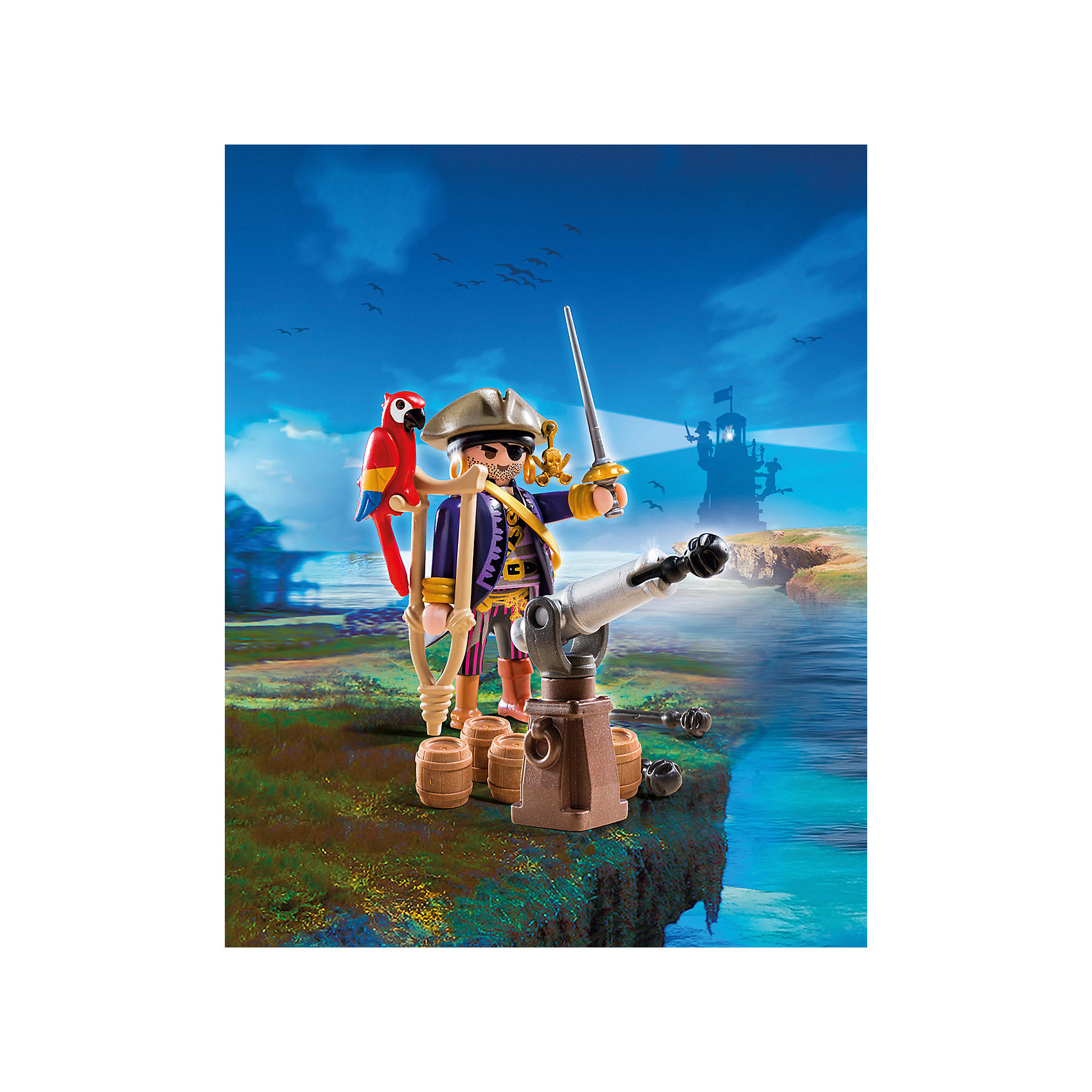Капитан пиратов, PLAYMOBILПознакомься с капитаном пиратов! Если повезет, он научит тебя стрелять из пушки, даст подержать своего попугая и расскажет, где же спрятаны сокровища! Фигурка имеет подвижные конечности, в руки можно вложить различные предметы. Все детали прекрасно проработаны и выполнены из высококачественного экологичного пластика безопасного для детей. Играть с таким набором не только приятно и интересно - подобные виды игры развивают мелкую моторику, воображение, творческое мышление.<br><br>Дополнительная информация:<br><br>- 1 фигурка<br>- Комплектация: 1 фигурка, пушка, бочки, попугай, аксессуары. <br>- Материал: пластик.<br>- Размер: 15х10х5 см.<br>- Высота фигурки: 7,5 см.<br>- Голова, руки, ноги у фигурки подвижные.<br><br>Набор Пиратский тайник с сокровищами, PLAYMOBIL (Плеймобил), можно купить в нашем магазине.<br><br>Ширина мм: 147<br>Глубина мм: 98<br>Высота мм: 50<br>Вес г: 79<br>Возраст от месяцев: 48<br>Возраст до месяцев: 120<br>Пол: Мужской<br>Возраст: Детский<br>SKU: 4012480