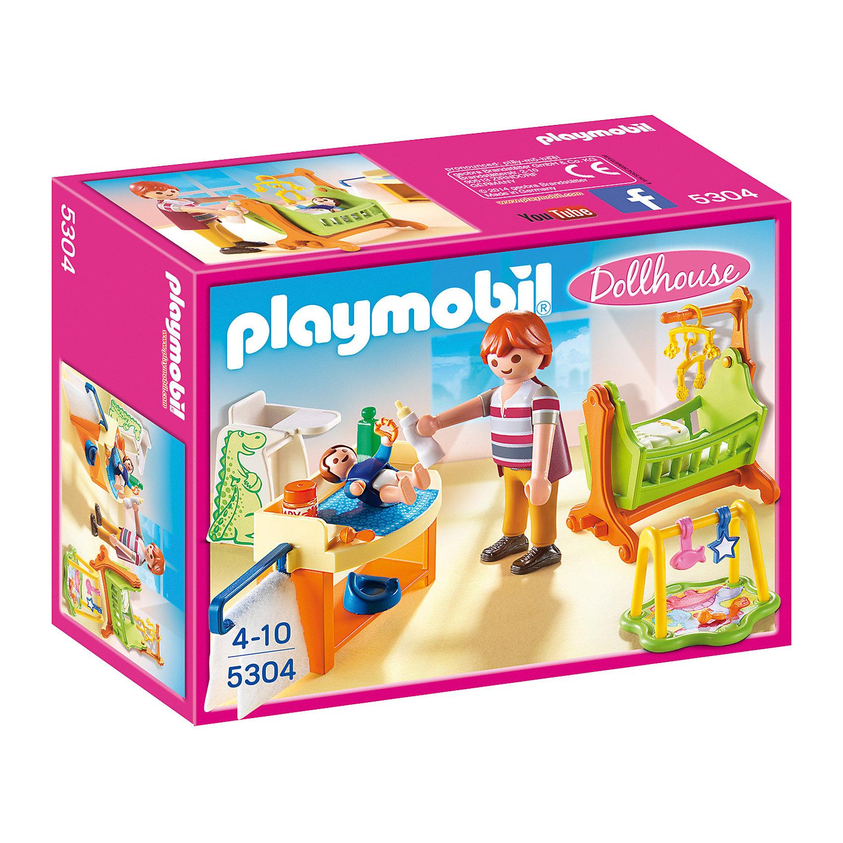 Детская комната с люлькой, PLAYMOBILПластмассовые конструкторы<br>С помощью этого набора можно собрать уютную детскую комнату с люлькой для совсем маленького ребенка. Так же в комнате есть пеленальный столик, горшок, стульчик, развивающий коврик, игрушки и аксессуары. Фигурка папы имеет подвижные конечности, в руки можно вложить инструменты. Все детали прекрасно проработаны и выполнены из высококачественного экологичного пластика безопасного для детей. <br><br>Дополнительная информация:<br><br>- 2 фигурка в наборе. <br>- Комплектация: 2 фигурки, люлька, развивающий коврик, пеленальный столик, высокий стульчик, аксессуары, игрушки. <br>- Материал: пластик.<br>- Размер упаковки: 19х15х7 см.<br>- Высота фигурки: 7,5 см.<br>- Голова, руки, ноги у фигурки подвижные.<br><br>Набор Детская комната с люлькой, PLAYMOBIL (Плеймобил), можно купить в нашем магазине.<br><br>Ширина мм: 195<br>Глубина мм: 147<br>Высота мм: 76<br>Вес г: 149<br>Возраст от месяцев: 48<br>Возраст до месяцев: 120<br>Пол: Женский<br>Возраст: Детский<br>SKU: 4012486