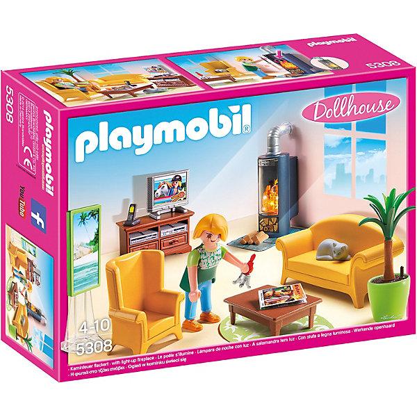 Гостиная с камином, PLAYMOBILПластмассовые конструкторы<br>Уютная гостиная так и располагает к душевным разговорам за чашечкой ароматного кофе или чая. Здесь есть удобный диван и кресло, небольшой столик, красивая пальма, телевизор, комод и камин. В наборе - фигурка девушки, хозяйки дома. Фигурка имеет подвижные конечности, в руки можно вложить различные предметы. Все детали прекрасно проработаны и выполнены из высококачественного экологичного пластика безопасного для детей. Играть с таким набором не только приятно и интересно - подобные виды игры развивают мелкую моторику, воображение, творческое мышление.<br><br>Дополнительная информация:<br><br>- 1 фигурка.<br>- Комплектация: 1 фигурка, диван, кресло, стол, камин, пальма, комод, аксессуары. <br>- Материал: пластик.<br>- Размер упаковки: 25,4х19х8 см.<br>- Высота фигурки: 7,5 см.<br>- Голова, руки, ноги у фигурки подвижные.<br><br>Набор Гостиная с камином, PLAYMOBIL (Плеймобил), можно купить в нашем магазине.<br>Ширина мм: 253; Глубина мм: 190; Высота мм: 76; Вес г: 279; Возраст от месяцев: 48; Возраст до месяцев: 120; Пол: Женский; Возраст: Детский; SKU: 4012489;
