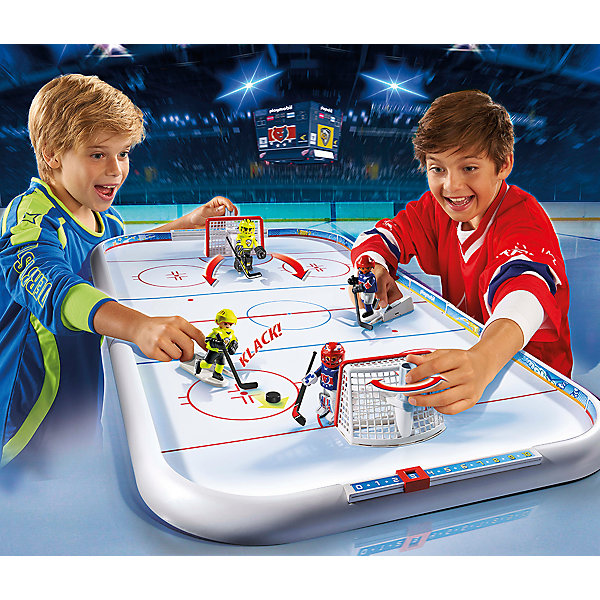 Хоккейная арена, PLAYMOBILПластмассовые конструкторы<br>С этим замечательным набором можно играть в хоккей не выходя из дома! В комплекте 4 хоккеиста: 2 вратаря и 2 игрока. С помощью специальной подставки можно управлять хоккеистами. Для этого установите фигурку на подставку, оттяните рычажок и отпустите его. Вратари крепятся на специальные держатели, которые поворачиваются влево и вправо для защиты ворот. Фигурки имеют подвижные конечности, в руки можно вложить различные предметы. Все детали прекрасно проработаны и выполнены из высококачественного экологичного пластика безопасного для детей. Играть с таким набором не только приятно и интересно - подобные виды игры развивают мелкую моторику, воображение, творческое мышление.<br><br>Дополнительная информация:<br><br>- 4 фигурки в наборе.<br>- Комплектация: 4 фигурки, арена, ворота (2 шт), клюшки (4 шт), пусковой механизм (2 шт), шайба (4 шт), наклейки, подставка (2 шт).<br>- Материал: пластик.<br>- Размер упаковки: 58,5х50х10  см.<br>- Высота фигурки: 7,5 см.<br>- Голова, руки, ноги у фигурок подвижные.<br>- Пушка стреляет.<br>- Борт можно снять, чтобы пропустить на лед машину для заливки льда (не входит в комплект).<br><br>Набор Хоккейная арена, PLAYMOBIL (Плеймобил), можно купить в нашем магазине.<br><br>Ширина мм: 577<br>Глубина мм: 494<br>Высота мм: 94<br>Вес г: 1979<br>Возраст от месяцев: 60<br>Возраст до месяцев: 120<br>Пол: Мужской<br>Возраст: Детский<br>SKU: 4012492