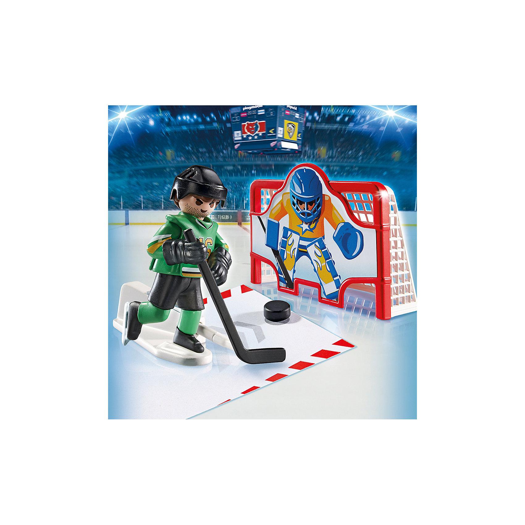 Хоккей: Тренажёр для забивания голов, PLAYMOBILОттачивай свое мастерство с помощью этого тренажера для забивания голов. В комплекте один хоккеист со специальной подставкой. С ее помощью игрок двигается и забивает гол. Фигурка имеет подвижные конечности, в руки можно вложить различные предметы. Все детали прекрасно проработаны и выполнены из высококачественного экологичного пластика безопасного для детей. Играть с таким набором не только приятно и интересно - подобные виды игры развивают мелкую моторику, воображение, творческое мышление.<br><br>Дополнительная информация:<br><br>- 1 фигурка.<br>- Комплектация: 1 фигурка, подставка, ворота, 4 шайбы, клюшка. <br>- Материал: пластик.<br>- Размер упаковки: 14х14х7 см.<br>- Высота фигурки: 7,5 см.<br>- Голова, руки, ноги у фигурки подвижные.<br><br>Набор Хоккей: Тренажёр для забивания голов, PLAYMOBIL (Плеймобил), можно купить в нашем магазине.<br><br>Ширина мм: 145<br>Глубина мм: 144<br>Высота мм: 71<br>Вес г: 105<br>Возраст от месяцев: 60<br>Возраст до месяцев: 120<br>Пол: Мужской<br>Возраст: Детский<br>SKU: 4012494