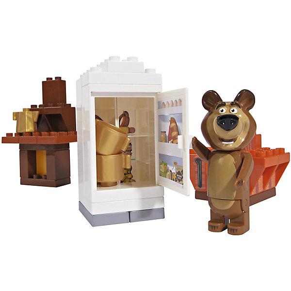 Конструктор Маша и Медведь, Кухня Мишки, 35 деталей, BIGПластмассовые конструкторы<br>Характеристики:<br><br>• серия: Маша и Медведь;<br>• тема набора: кухня Мишки;<br>• количество деталей: 35 шт.;<br>• 1 минифигурка в комплекте;<br>• развитие конструкторских навыков;<br>• в наборе: холодильник, печка, кресло, фигурка Мишки, посуда, продукты, аксессуары;<br>• материал: пластик;<br>• размер упаковки: 39х29х49 см. <br><br>Мишка готовится к приходу Маши: холодильник забит продуктами, Мишка доволен и спокойно может отдохнуть в своем любимом кресле у камина. Фигурка Мишки с подвижными конечностями: лапы поднимаются и опускаются, голова поворачивается, Мишка умеет сидеть. Детали набора совместимы с деталями Лего Дупло. Набор упакован в пластиковый контейнер с крышкой. <br><br>Конструктор Маша и Медведь, Кухня Мишки, 35 деталей, BIG можно купить в нашем интернет-магазине.<br>Ширина мм: 190; Глубина мм: 285; Высота мм: 160; Вес г: 767; Возраст от месяцев: 18; Возраст до месяцев: 60; Пол: Унисекс; Возраст: Детский; SKU: 4012828;