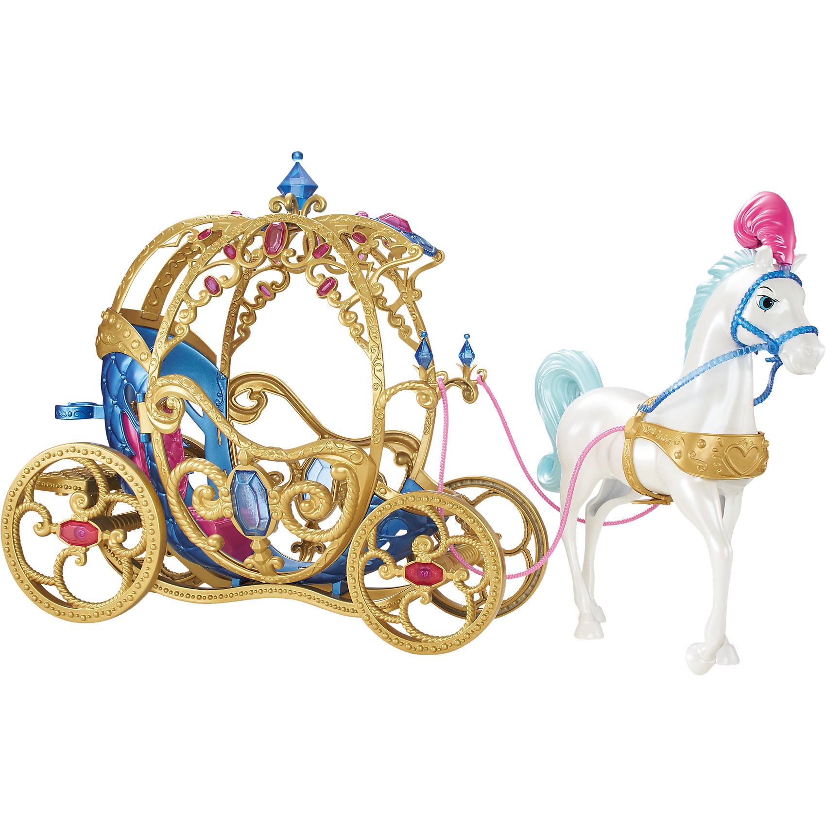 Лошадь с каретой для Золушки, Принцессы ДиснейИгрушки<br>Лошадь с каретой для Золушки, Disney Princess – это отличный подарок для вашей девочки!<br>Шикарный набор с лошадью и каретой для Золушки – это то, с чего начнется путешествие на бал вашей любимой куклы. Карета выполнена очень качественно, вы не устанете любоваться ее витиеватым декором и реалистичными самоцветами, которыми она украшена. Внутри удобное место, куда помещается одна любая кукла, ростом до 30 см. Большие золоченые колеса кареты крутятся при движении. В королевский кортеж впряжен белоснежный конь. Он украшен праздничной сбруей и плюмажем с розовыми перьями. Ножки лошади неподвижны.<br><br>Дополнительная информация:<br><br>- В наборе: карета, лошадь<br>- Материал: высококачественный пластик<br>- Размер упаковки: 410x150x320 мм.<br>- Вес: 530 гр.<br><br>Лошадь с каретой для Золушки, Disney Princess можно купить в нашем интернет-магазине.<br><br>Ширина мм: 411<br>Глубина мм: 327<br>Высота мм: 144<br>Вес г: 1046<br>Возраст от месяцев: 36<br>Возраст до месяцев: 72<br>Пол: Женский<br>Возраст: Детский<br>SKU: 4012928
