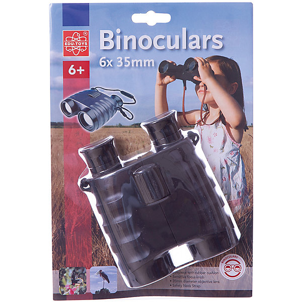 Бинокль 6*35, Edu-ToysНаборы шпиона<br>Бинокль, Edu-Toys, станет замечательным помощником для юного исследователя и поможет совершить множество веселых открытий. Высококачественная стеклянная оптика и большой диаметр объектива 35 мм. обеспечивают отличное качество изображения. 6-кратное увеличение бинокля позволяет наблюдать как относительно близко расположенные предметы, так и удаленные. Имеется регулировка расстояния между глазами и резиновые накладки вокруг окуляров, что делает использование бинокля еще более комфортным.<br>Литой корпус имеет прорезиненное влагозащищенное покрытие, которое предохраняет его от мелких повреждений и позволяет использовать в любых погодных условиях. Есть ремень для ношения на шее. <br><br>Дополнительная информация:<br><br>- Материал: пластик, стекло. <br>- Диаметр объектива: 35 мм.<br>- Размер бинокля: 14 х 11,5 х 4,5 см.<br>- Размер упаковки: 21 х 30 х 4,5 см.<br>- Вес: 0,28 кг.<br><br>Бинокль 6*35, Edu-Toys, можно купить в нашем интернет-магазине.<br>Ширина мм: 210; Глубина мм: 85; Высота мм: 300; Вес г: 280; Возраст от месяцев: 72; Возраст до месяцев: 120; Пол: Унисекс; Возраст: Детский; SKU: 4013704;