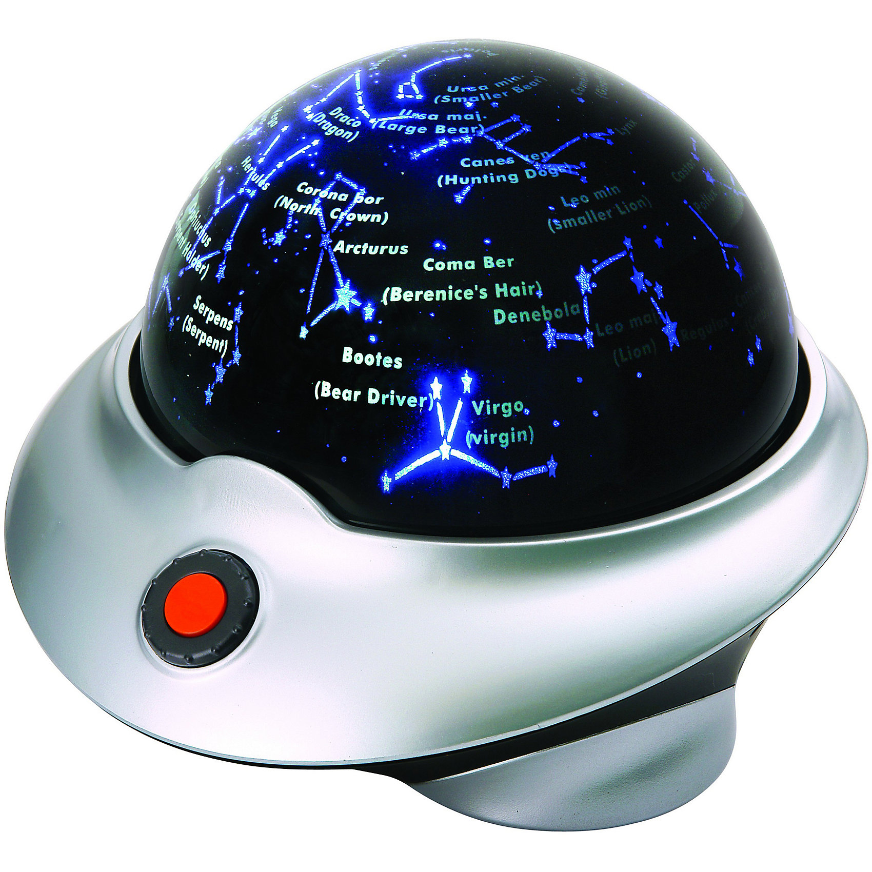 Планетарий, Edu-ToysОригинальная обучающая игрушка Планетарий, Edu-Toys совмещает в себе сразу две функции: это мини-планетарий, который познакомит Вашего ребенка со звездами и созвездиями и замечательный ночник, под который так приятно засыпать. Планетарий представляет собой сферу на устойчивой подставке, при включении она начинает вращаться и проецировать на потолок изображение звездного неба. Плывущие по ночному небу звезды и планеты выглядят очень реалистично и создают впечатляющие визуальные эффекты. Вращение сферы сопровождается рассказом о созвездиях и связанных с ними древних мифах (на английском языке). Включается и выключается игрушка с помощью большой кнопки на корпусе, громкость звука можно регулировать. В комплекте также имеется лазерный указатель, которым ваш ребенок сможет играть и указывать на звезды во время обучения.<br><br>Дополнительная информация:<br><br>- В комплекте: планетарий-ночник, лазерный указатель, CyberSky CD диск с программой для изучения звездного неба, инструкция.<br>- Диаметр планетария: 18 см. <br>- Требуются батарейки: для планетария - 4 х АА (в комплект не входят), для лазерного указателя - 2 х АА (в комплект не входят).<br>- Размер упаковки: 25,5 х 24,5 х 18,5 см.<br>- Вес: 0,87 кг.<br><br>Планетарий, Edu-Toys, можно купить в нашем интернет-магазине.<br><br>Ширина мм: 255<br>Глубина мм: 245<br>Высота мм: 185<br>Вес г: 870<br>Возраст от месяцев: 96<br>Возраст до месяцев: 144<br>Пол: Унисекс<br>Возраст: Детский<br>SKU: 4013706