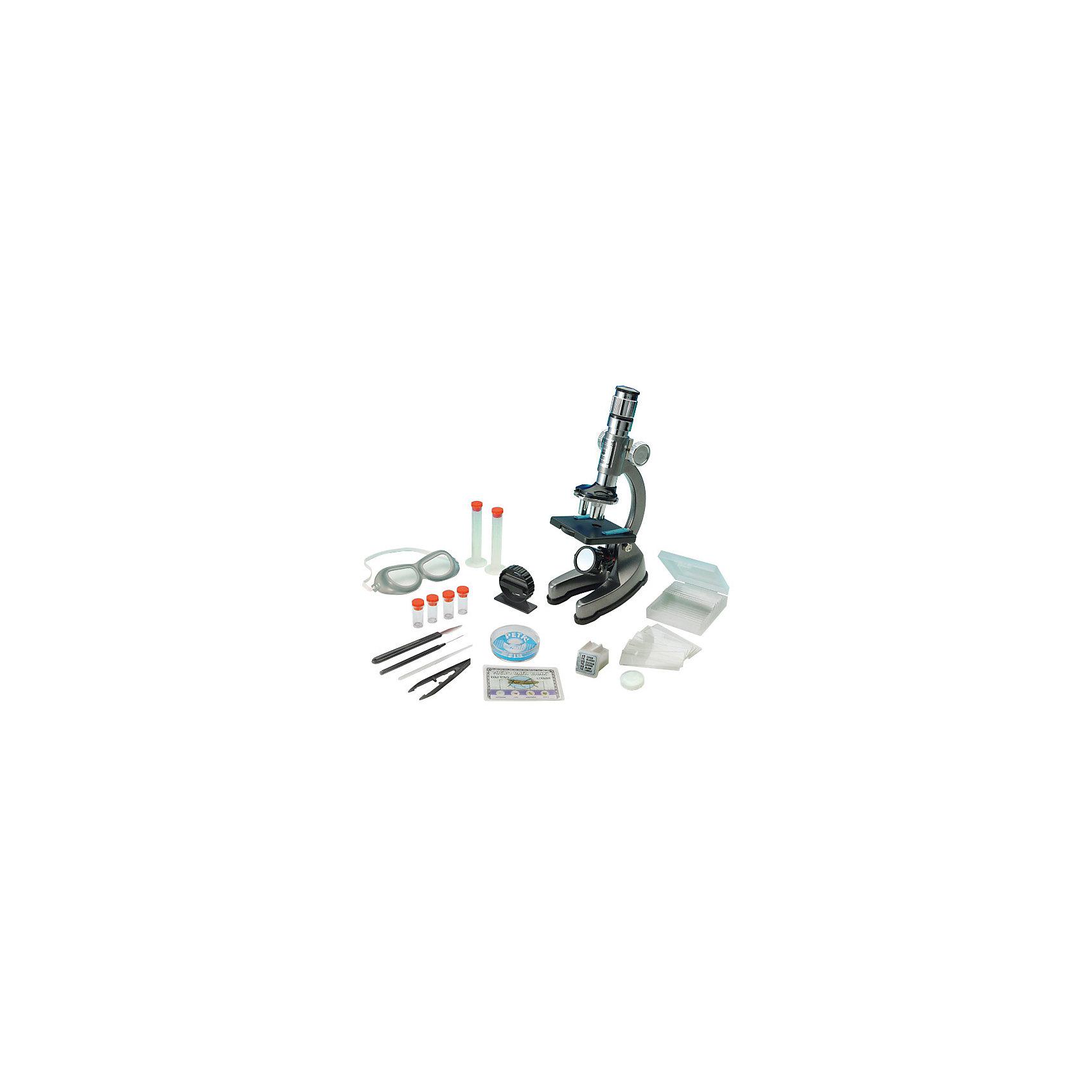 Микроскоп, Edu-ToysМикроскопы для школьников<br>Микроскоп, Edu-Toys - необходимый инструмент для юного исследователя в его изучении окружающего мира и природы. Высококачественный зум-окуляр микроскопа обеспечивает отличное качество изображения и дает переменное увеличение от 100 до 900 крат. Специальная ручка фокусировки поможет наладить нужную резкость, а с<br>помощью зеркала-отражателя Вы сможете настроить необходимое освещение для изучения препарата. Если яркости недостаточно, можно включить встроенную подсветку. <br><br>Прибор оснащен специальным предметным столиком с лапками-зажимами для микропрепаратов. Прочный корпус микроскопа выполнен из алюминия и имеет устойчивое основание, так что Вы можете не беспокоиться за его сохранность. В комплект также входит набор аксессуаров с помощью которых можно провести множество увлекательных опытов и наблюдений, здесь Вы найдете и комплект микропрепаратов, и все необходимые инструменты и емкости.<br><br>Дополнительная информация:<br><br>- В комплекте: микроскоп EDU-TOYS MS002 с алюминиевым корпусом, окуляр с переменной кратностью 12-18х, набор готовых микропрепаратов, мини-нож для изготовления   препаратов, 12 стеклянных слайдов, 12 стеклянных покрытий, 12 этикеток, 2 пробирки с химикатами, 2 пустые пробирки, стеклянная палочка для перемешивания, чашка Петри,   скальпель, игла, пинцет, запасная лампочка, 2 мерные колбы, защитные очки, крышка объектива, инструкция.<br>- Материал: алюминий, пластик, стекло.<br>- Для подсветки требуются батарейки: 2 х АА (не входят в комплект).<br>- Высота микроскопа: 23 см.<br>- Размер упаковки: 35 х 8,5 х 39 см.<br>- Вес: 2,46 кг.<br><br>Микроскоп, Edu-Toys, можно купить в нашем интернет-магазине.<br><br>Ширина мм: 390<br>Глубина мм: 85<br>Высота мм: 350<br>Вес г: 2460<br>Возраст от месяцев: 96<br>Возраст до месяцев: 144<br>Пол: Унисекс<br>Возраст: Детский<br>SKU: 4013710