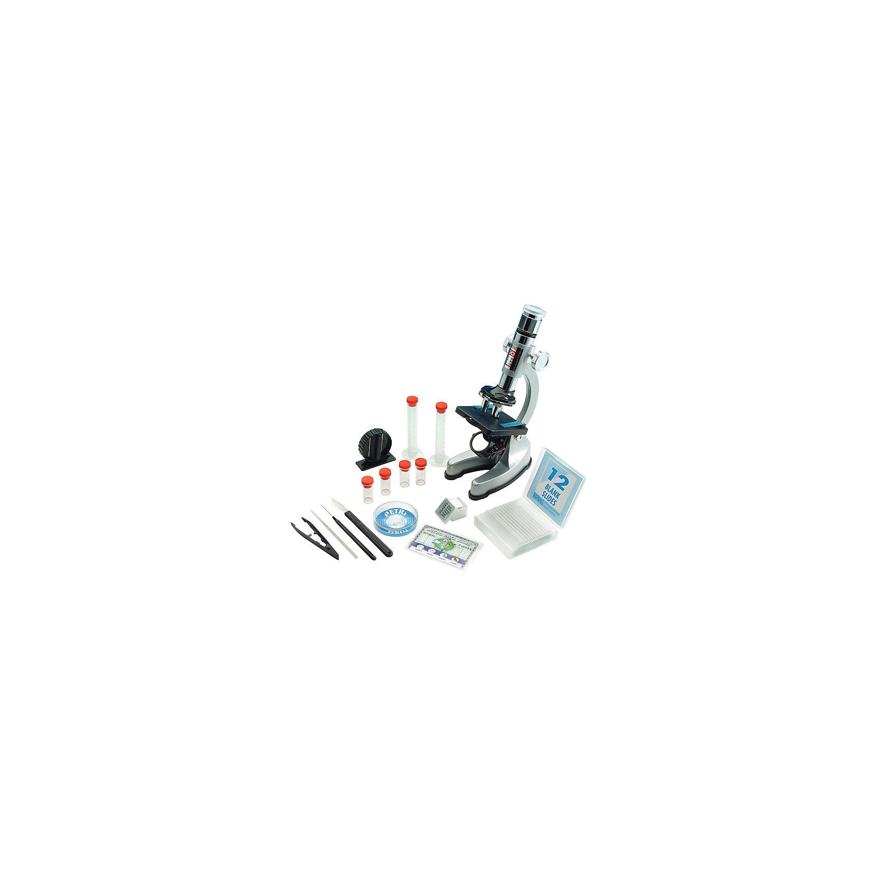 Микроскоп, Edu-ToysМикроскоп, Edu-Toys - компактный детский микроскоп, который замечательно подойдет для первого знакомства Вашего ребенка с микромиром. Микроскоп оснащен револьверной головкой с тремя объективами, которые обеспечивают плавную смену увеличений от 100 до 1200 крат. Специальное колесико фокусировки поможет наладить нужную резкость, а с помощью зеркала-отражателя Вы сможете настроить необходимое освещение для изучения препарата. Если яркости недостаточно, можно воспользоваться встроенной подсветкой, расположенной у основания прибора.<br><br>Прибор оснащен специальным предметным столиком с лапками-держателями для микропрепаратов. Устойчивое основание микроскопа гарантирует сохранность препарата во время работы. Микроскоп также выполняет функцию проектора: направив его на белую гладкую поверхность в темной комнате, можно просматривать слайды с микропрепаратами в увеличенном виде. В комплект также входит набор аксессуаров, с помощью которых можно самостоятельно готовить микропрепараты и проводить увлекательные опыты и наблюдения. Занятия с микроскопом способствуют формированию у ребенка научного подхода, расширяют кругозор, развивают любознательность и внимательность.<br><br>Дополнительная информация:<br><br>- В комплекте: микроскоп MS907, набор готовых микропрепаратов, мини-нож для изготовления препаратов, 12 предметных стекол, 12 покровных стекол, 12 этикеток для препаратов,<br>  чашка Петри, 2 мерные пробирки (10 мл.), 4 флакона для образцов, пинцет, игла, скальпель, стеклянная палочка для перемешивания, запасная лампочка, инструкция. <br>- Материал: пластик, алюминий.<br>- Для подсветки требуются батарейки: 2 х АА (не входят в комплект).<br>- Высота микроскопа: 23 см.<br>- Размер упаковки: 39 x 35 x 10 см.<br>- Вес: 2,11 кг.<br><br>Микроскоп, Edu-Toys, можно купить в нашем интернет-магазине.<br><br>Ширина мм: 385<br>Глубина мм: 90<br>Высота мм: 340<br>Вес г: 2110<br>Возраст от месяцев: 96<br>Возраст до месяцев: 144<br>Пол: Унисекс<br>Возраст: Детский<b