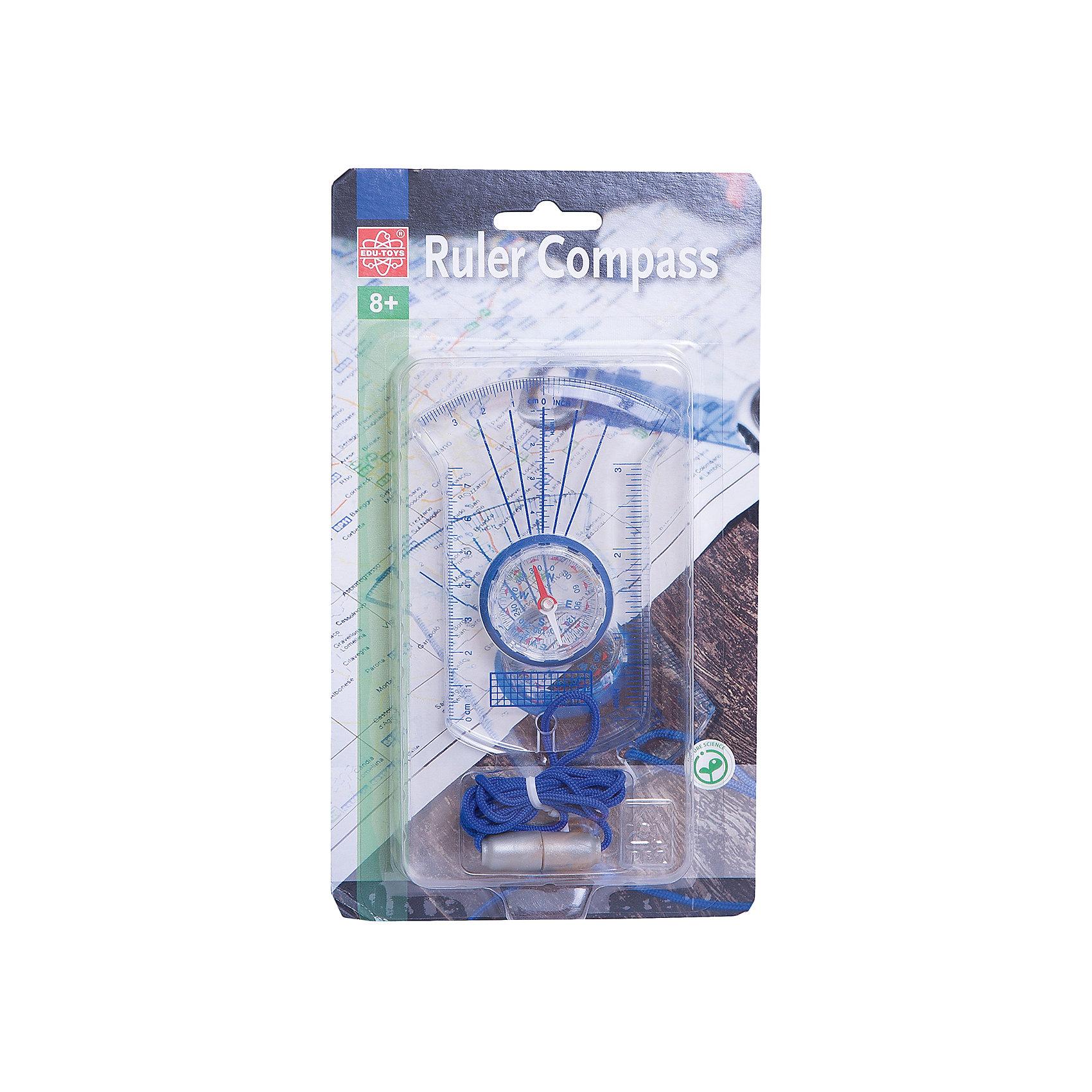 Обучающий набор с компасом, Edu-ToysЭксперименты и опыты<br>Обучающий набор, Edu-Toys, научит маленького путешественника ориентироваться по компасу, определять расстояние и пользоваться картой. Набор представляет из себя планшет с прозрачным пластиковым корпусом и совмещает детский компас и различные измерительные линейки для топографических карт. У линеек  два значения - дюймы и сантиметры. Используя компас ребенок быстро научится определять направление и стороны света, а линейки помогут измерить по карте расстояние до цели. Имеется удобный шнурок для ношения на шее.<br><br>Дополнительная информация:<br><br>- Материал: пластик.<br>- Размер: 13 х 0,5 х 25 см.<br>- Вес: 80 гр.<br><br>Обучающий набор, Edu-Toys, можно купить в нашем интернет-магазине.<br><br>Ширина мм: 225<br>Глубина мм: 128<br>Высота мм: 23<br>Вес г: 59<br>Возраст от месяцев: 96<br>Возраст до месяцев: 144<br>Пол: Унисекс<br>Возраст: Детский<br>SKU: 4013721