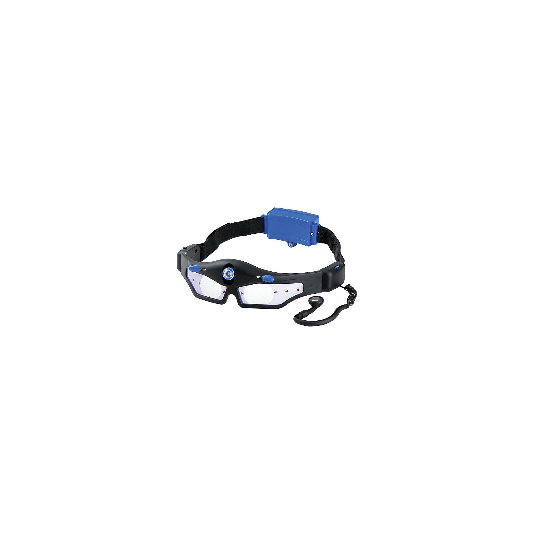 Шпионские очки, Edu-ToysЭксперименты и опыты<br>Шпионские очки, Edu-Toys - оригинальный подарок, который обязательно порадует маленького детектива. Шпионское устройство представляет из себя очки из прочного пластика, со встроенными в оправу подслушивающим устройством и фонариком. Подслушивающее устройство способно усиливать тихие звуки и разговор, который происходит за стеной или на расстоянии, а встроенный ограничитель громкости предохранит от слишком громкого звука в наушнике. Налобный фонарик светит в темноте направленным пучком и позволяет рассматривать предметы рядом с собой, при этом сам владелец очков не слишком заметен. Очки достаточно легкие и не создают дискомфорта при использовании.<br><br>Дополнительная информация:<br><br>- Материал: пластик. <br>- Требуются батарейки: 2 х AA (в комплект не входят).<br>- Размер упаковки: 23 х 6,5 х 28 см. <br>- Вес: 0,31 г.<br><br>Шпионские очки, Edu-Toys, можно купить в нашем интернет-магазине.<br><br>Ширина мм: 230<br>Глубина мм: 65<br>Высота мм: 280<br>Вес г: 310<br>Возраст от месяцев: 96<br>Возраст до месяцев: 144<br>Пол: Унисекс<br>Возраст: Детский<br>SKU: 4013743