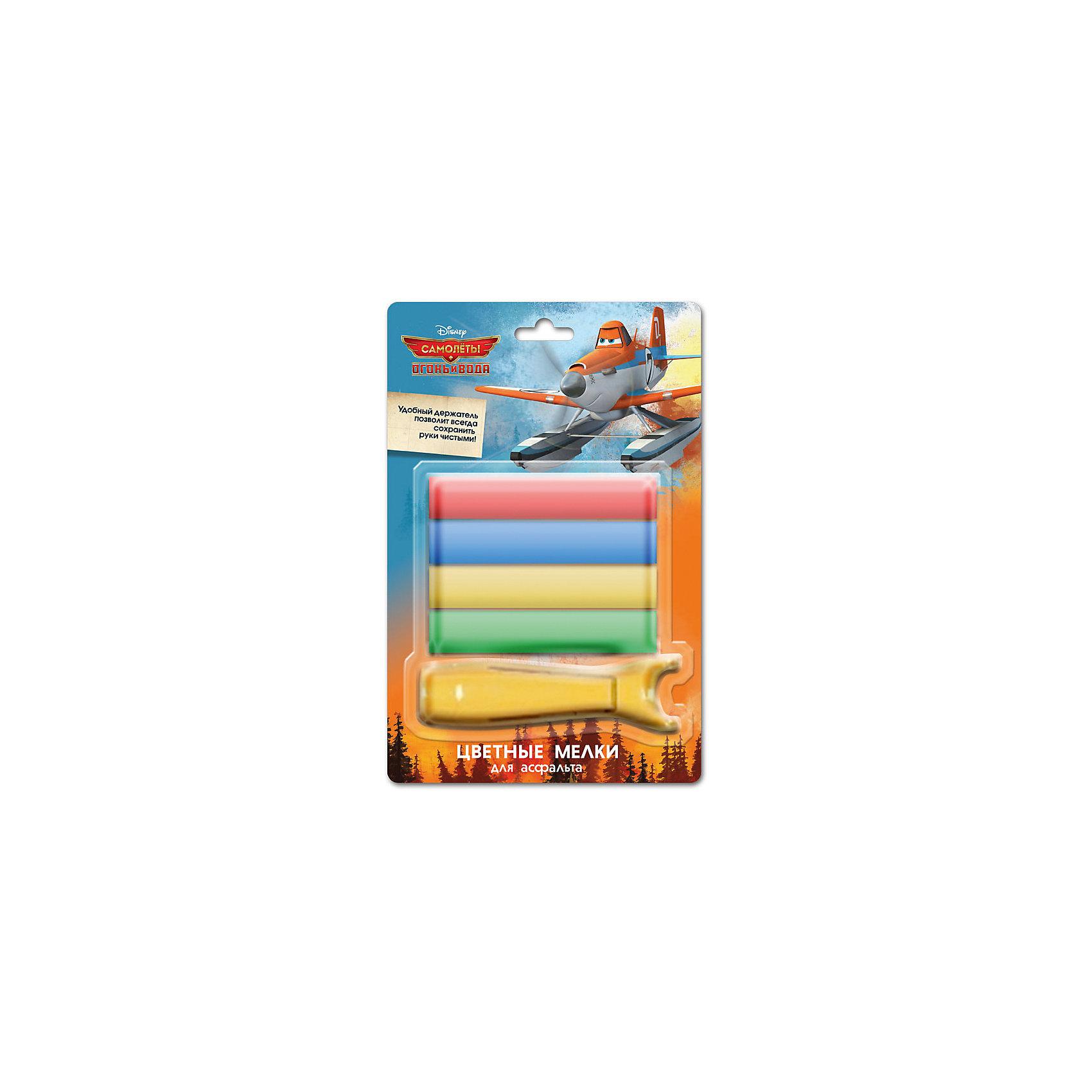 Мел (4 шт) для асфальта с держателем, Disney СамолетыСамолеты<br>Набор Мел (4 шт) для асфальта с держателем, Disney (Дисней) Самолеты позволит ребенку воплотить все свои художественные замыслы на асфальте. В упаковке, оформленной по мотивам диснеевского мультфильма «Самолеты», Вы найдете 4 мелка насыщенных оттенков (красный, синий, желтый, зеленый), а также удобный держатель для них. Теперь гораздо комфортнее рисовать и сложнее испачкаться. Утолщенная форма мелков идеально подходит для маленьких детских ручек. Рисование мелками на асфальте – веселое и увлекательное занятие, которое способствует познанию мира ребенком, развитию творческих навыков, моторики, цветовосприятия. <br><br>Комплектация: 4 мелка, держатель<br><br>Дополнительная информация:<br>-Размеры в упаковке (ДхШхВ): 30х80х130 мм<br>-Вес в упаковке: 194 г<br>-Материалы: мел<br><br>Разноцветные мелки пригодятся для игры в классики, помогут ребенку создать прекрасные рисунки на асфальте или доске. <br><br>Мел (4 шт) для асфальта с держателем, Disney (Дисней) Самолеты можно купить в нашем магазине.<br><br>Ширина мм: 30<br>Глубина мм: 80<br>Высота мм: 130<br>Вес г: 194<br>Возраст от месяцев: 48<br>Возраст до месяцев: 144<br>Пол: Мужской<br>Возраст: Детский<br>SKU: 4014034