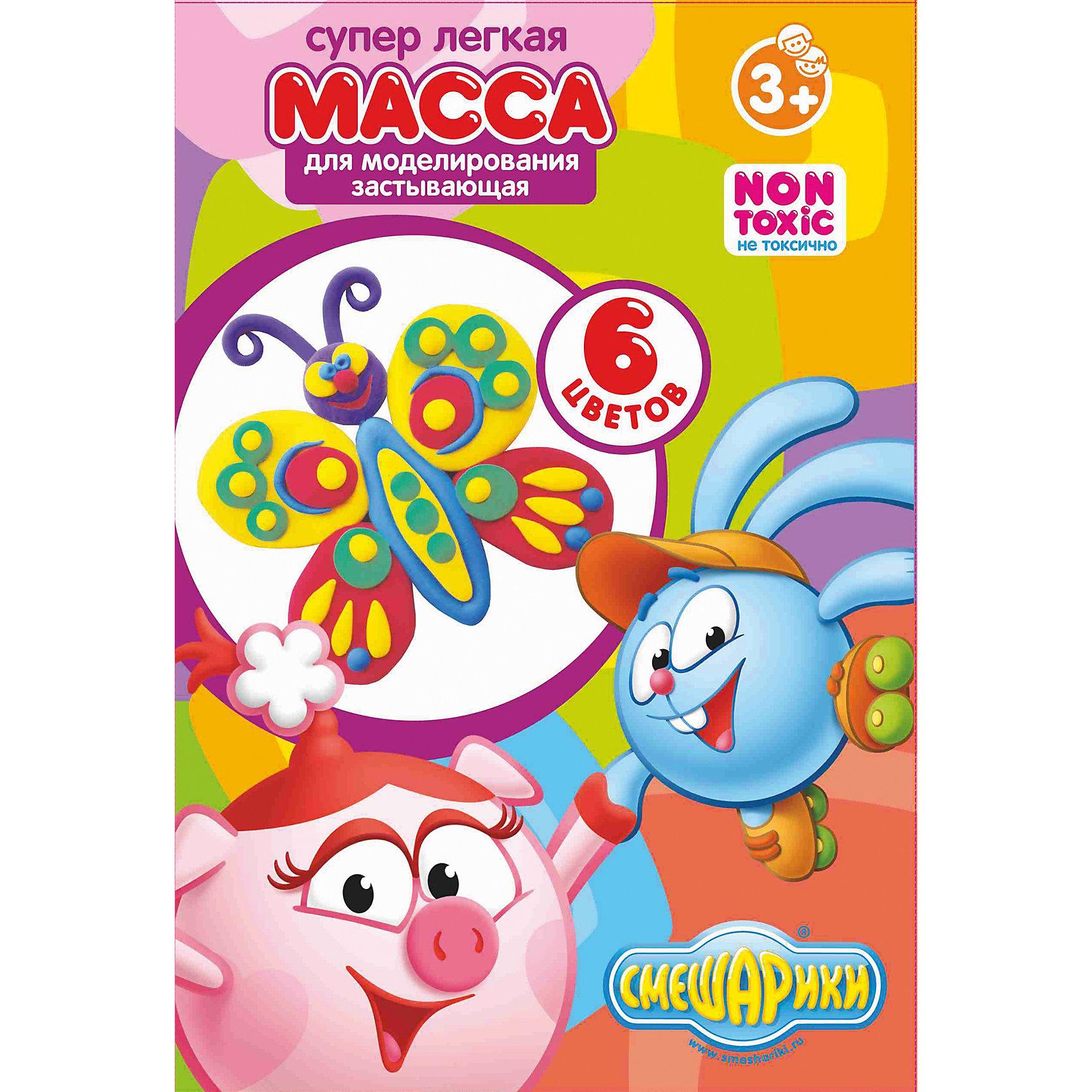 Суперлегкая масса для лепки (6 цветов х 16г), СмешарикиСуперлегкая масса для лепки (6 цветов х 16г), Смешарики – набор для творчества приведет в восторг ребенка поклонника мультсериала Смешарики.<br>Прекрасная масса для лепки предназначена для создания орнаментов, аксессуаров, игрушек и воплощения множества творческих идей. Она очень пластичная, мягкая, не липнет к рукам. Легко смешивается, благодаря чему можно достичь разнообразных оттенков. Прежде чем масса для лепки полностью высохнет, можно изменить поделку, предварительно увлажнив её водой из распылителя. Изделие засыхает на воздухе в течение суток, становится твердым и плотным. Масса для лепки абсолютно безопасна для здоровья ребенка, не содержит вредных примесей. Развивает мелкую моторику, воображение, цветовосприятие.<br><br>Дополнительная информация:<br><br>- В наборе: 6 герметичных пластиковых баночек разных цветов по 16 гр.<br>- Хранить в герметичной упаковке в прохладном месте во избежание засыхания массы.<br>- Размер упаковки: 28 х 145 х 237 мм.<br>- Вес: 233 гр.<br><br>Суперлегкую массу для лепки (6 цветов х 16г), Смешарики можно купить в нашем интернет-магазине.<br><br>Ширина мм: 28<br>Глубина мм: 145<br>Высота мм: 237<br>Вес г: 233<br>Возраст от месяцев: 36<br>Возраст до месяцев: 96<br>Пол: Унисекс<br>Возраст: Детский<br>SKU: 4017766