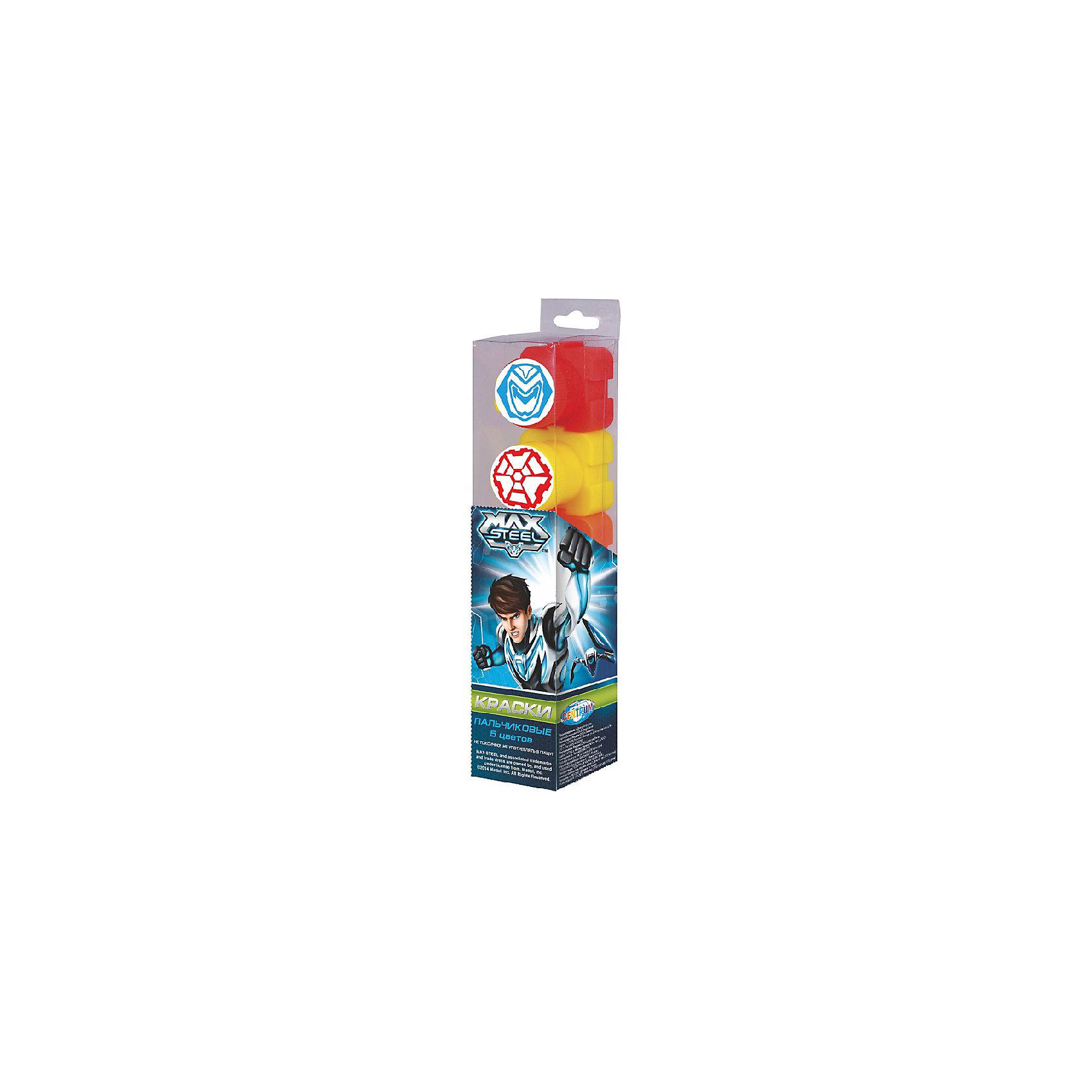 CENTRUM Пальчиковые краски со штампами (5 цветов х 20мл), Max Steel