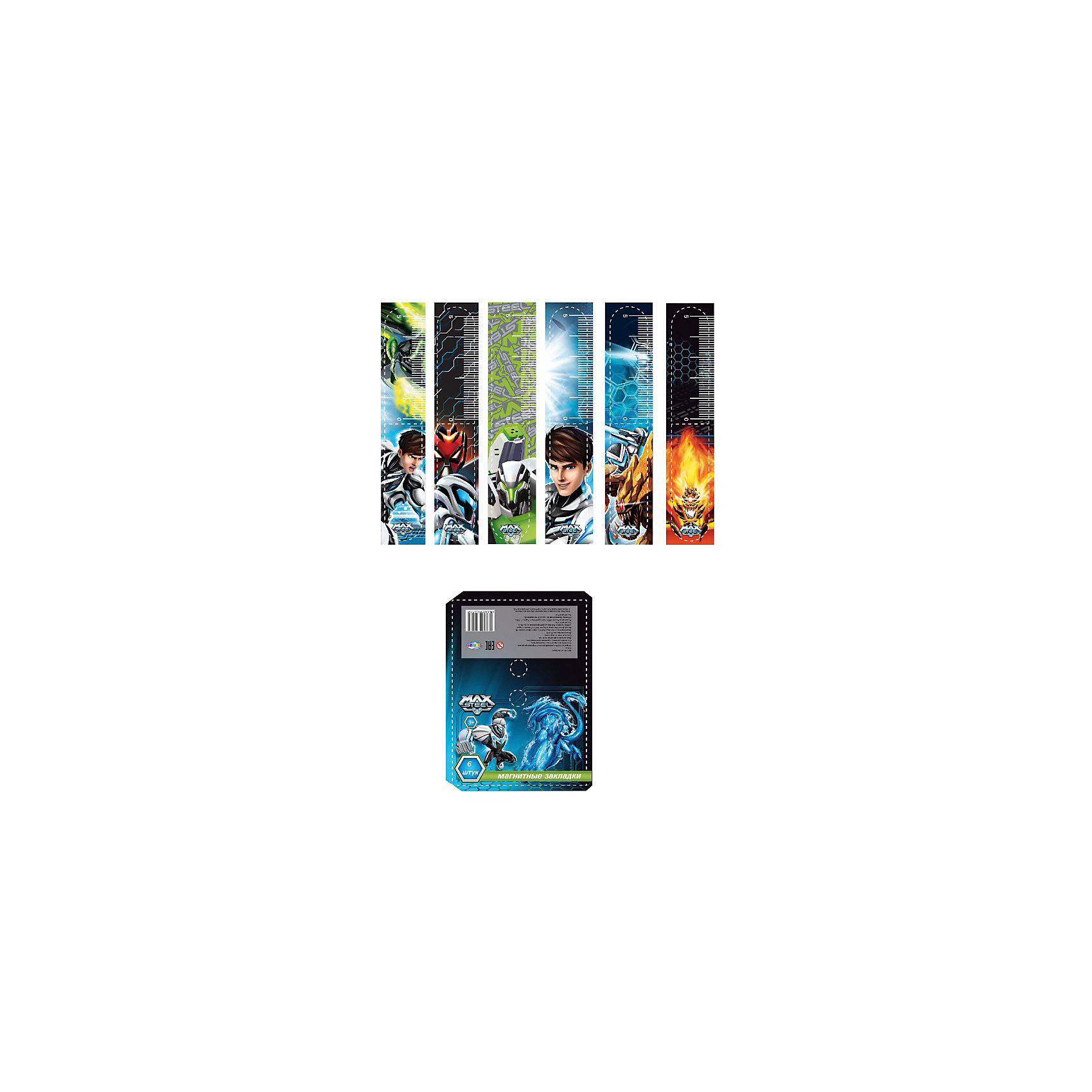 Магнитные закладки (6 шт), Max SteelМагнитные закладки (6 шт), Max Steel (Макс Стил) - это яркие веселые закладки с изображением любимых героев мультсериала о Максе Стиле.<br>Закладки магнитные, Max Steel (Макс Стил) порадуют маленьких поклонников мультфильма. Магнитные закладки представляют собой сложенную пополам полосу, которую надежно фиксируют по обеим сторонам страницы сверху или сбоку. Магнитные закладки для книг не выпадут из книги, даже если ребенок ее случайно уронит.<br><br>Дополнительная информация:<br><br>- В наборе: закладки магнитно-пластиковые 6 штук<br>- Размер упаковки: 2 х 70 х 170 мм.<br>- Вес: 100 гр.<br><br>Магнитные закладки (6 шт), Max Steel (Макс Стил) можно купить в нашем интернет-магазине.<br><br>Ширина мм: 2<br>Глубина мм: 70<br>Высота мм: 170<br>Вес г: 100<br>Возраст от месяцев: 36<br>Возраст до месяцев: 168<br>Пол: Мужской<br>Возраст: Детский<br>SKU: 4017804
