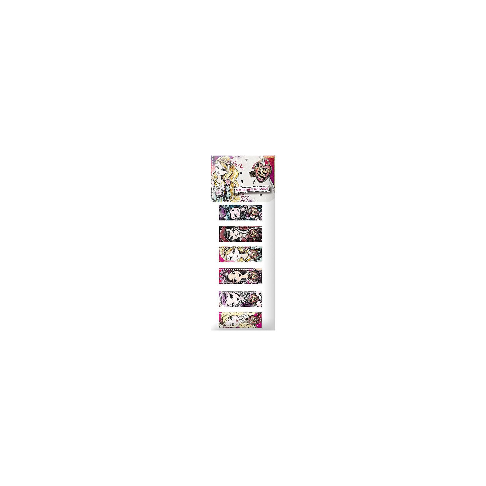 Магнитные закладки (6 шт), Ever after HighМагнитные закладки (6 шт), Ever after High (Эвер Афтер Хай) - это яркие закладки с изображением любимых героев мультсериала Ever after High.<br>Закладки магнитные, Ever after High порадуют маленьких поклонников мультфильма. Магнитные закладки представляют собой сложенную пополам полосу, которую надежно фиксируют по обеим сторонам страницы сверху или сбоку. Магнитные закладки для книг не выпадут из книги, даже если ребенок ее случайно уронит.<br><br>Дополнительная информация:<br><br>- В наборе: закладки магнитно-пластиковые 6 штук<br>- Размер упаковки: 2 х 70 х 170 мм.<br>- Вес: 100 гр.<br><br>Магнитные закладки (6 шт), Ever after High (Долго и счастливо) можно купить в нашем интернет-магазине.<br><br>Ширина мм: 2<br>Глубина мм: 70<br>Высота мм: 170<br>Вес г: 100<br>Возраст от месяцев: 36<br>Возраст до месяцев: 168<br>Пол: Женский<br>Возраст: Детский<br>SKU: 4017811